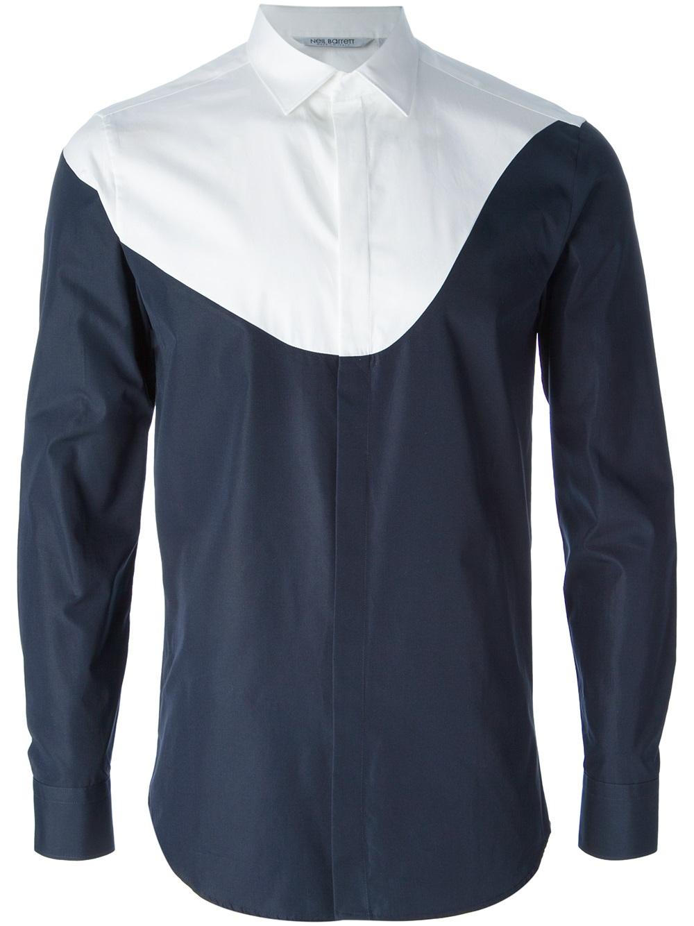 Neil barrett fitted shirt in blue for men lyst for Neil barrett tuxedo shirt