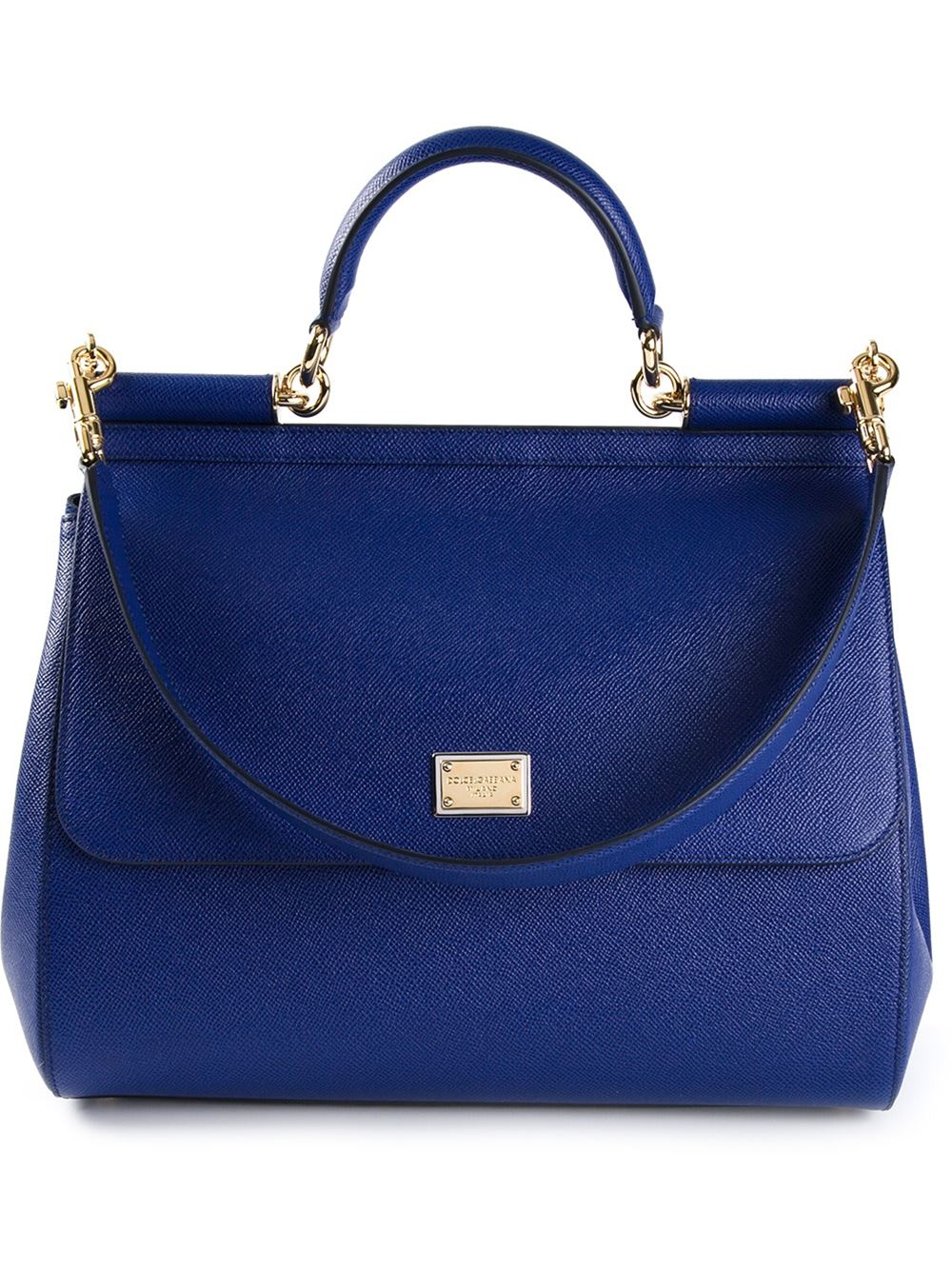 ... best service 537ab eb6e5 Lyst - Dolce Gabbana Sicily Large Calf-Leather  Tote in Blue ... 13e3795e98