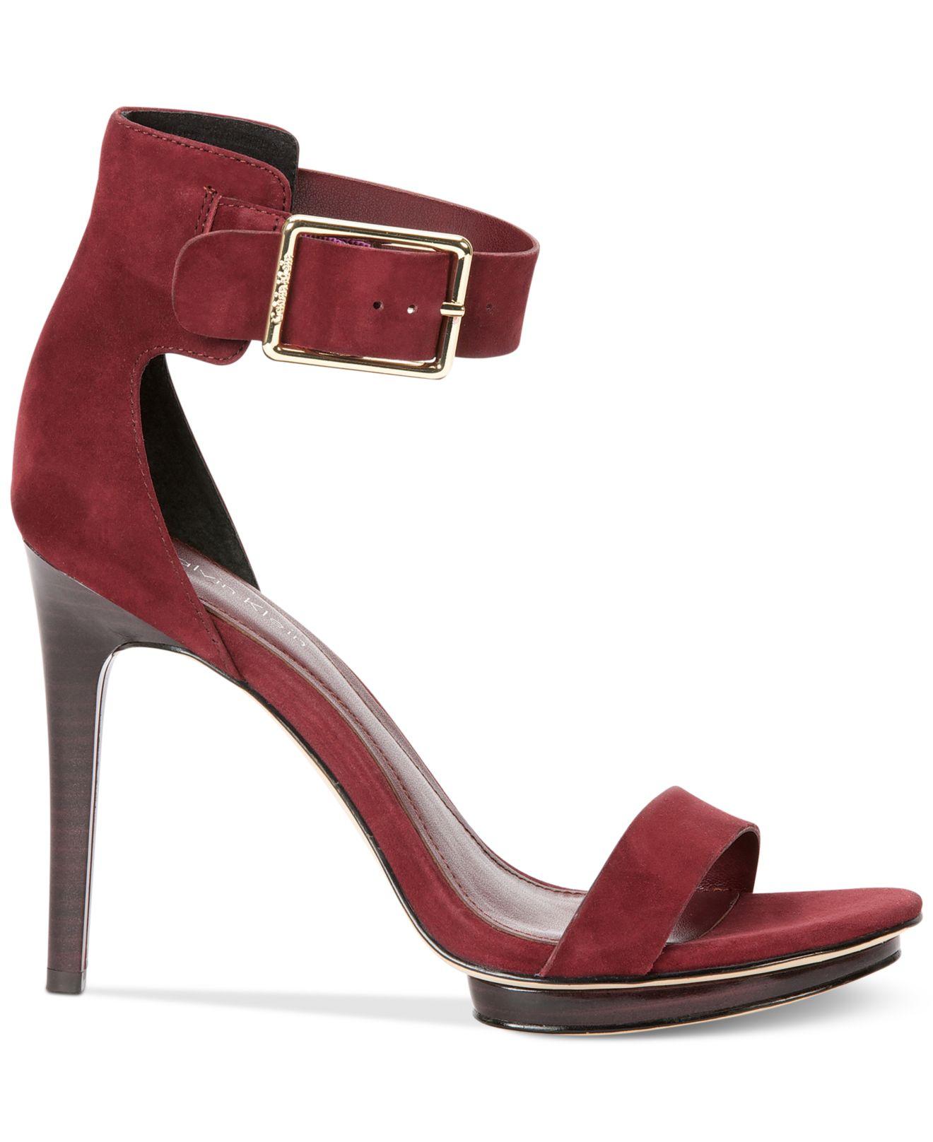 23d67395f60 Lyst - Calvin Klein Women S Vivian High Heel Sandals in Red