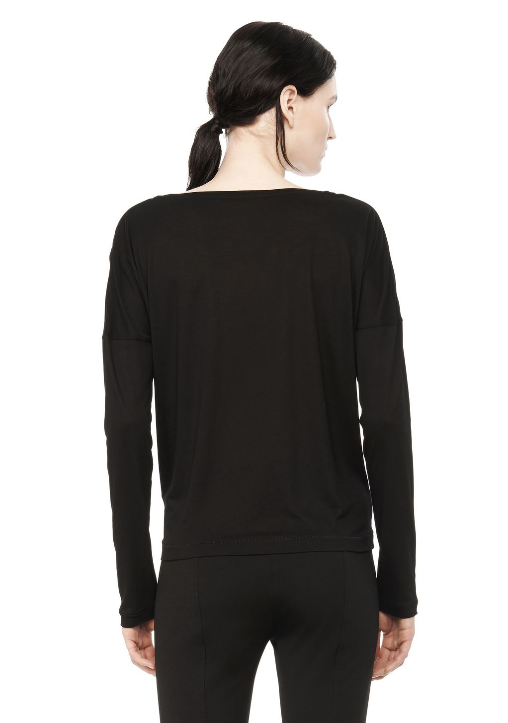 Alexander wang classic long sleeve low neck tee in black for Adam lippes women s long sleeve vee t shirt