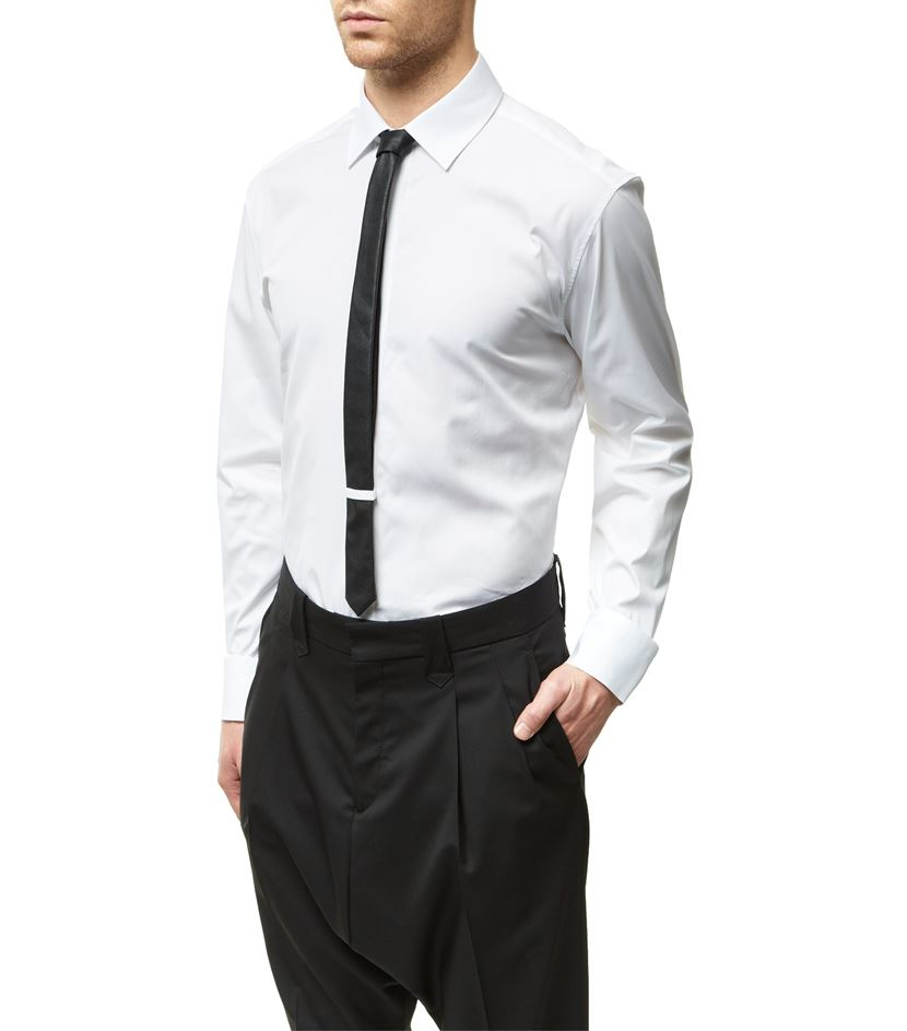 Neil barrett classic shirt with faux leather tie in white for Mens white leather shirt