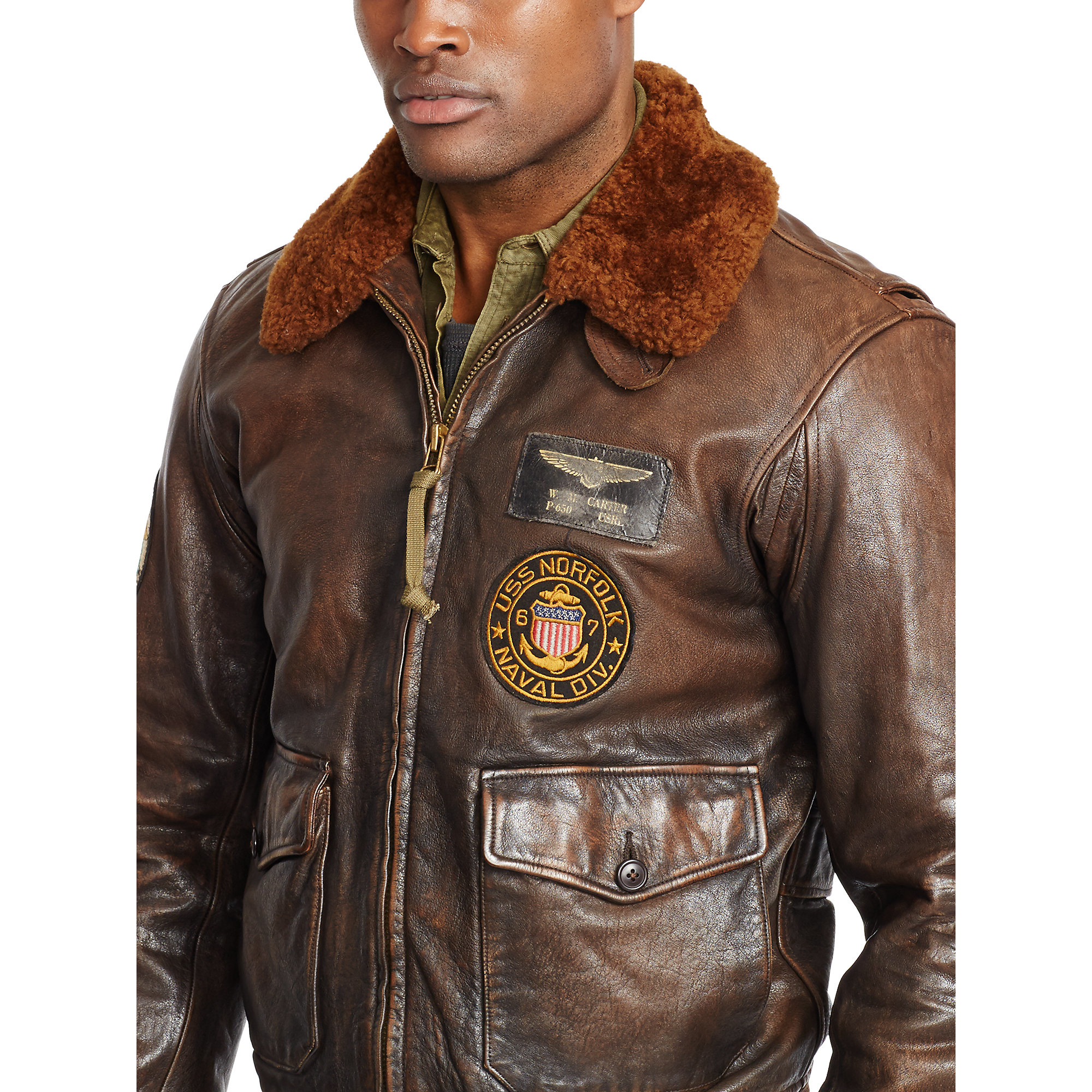 Lyst - Polo ralph lauren Shearling-collar Bomber Jacket in Brown ...