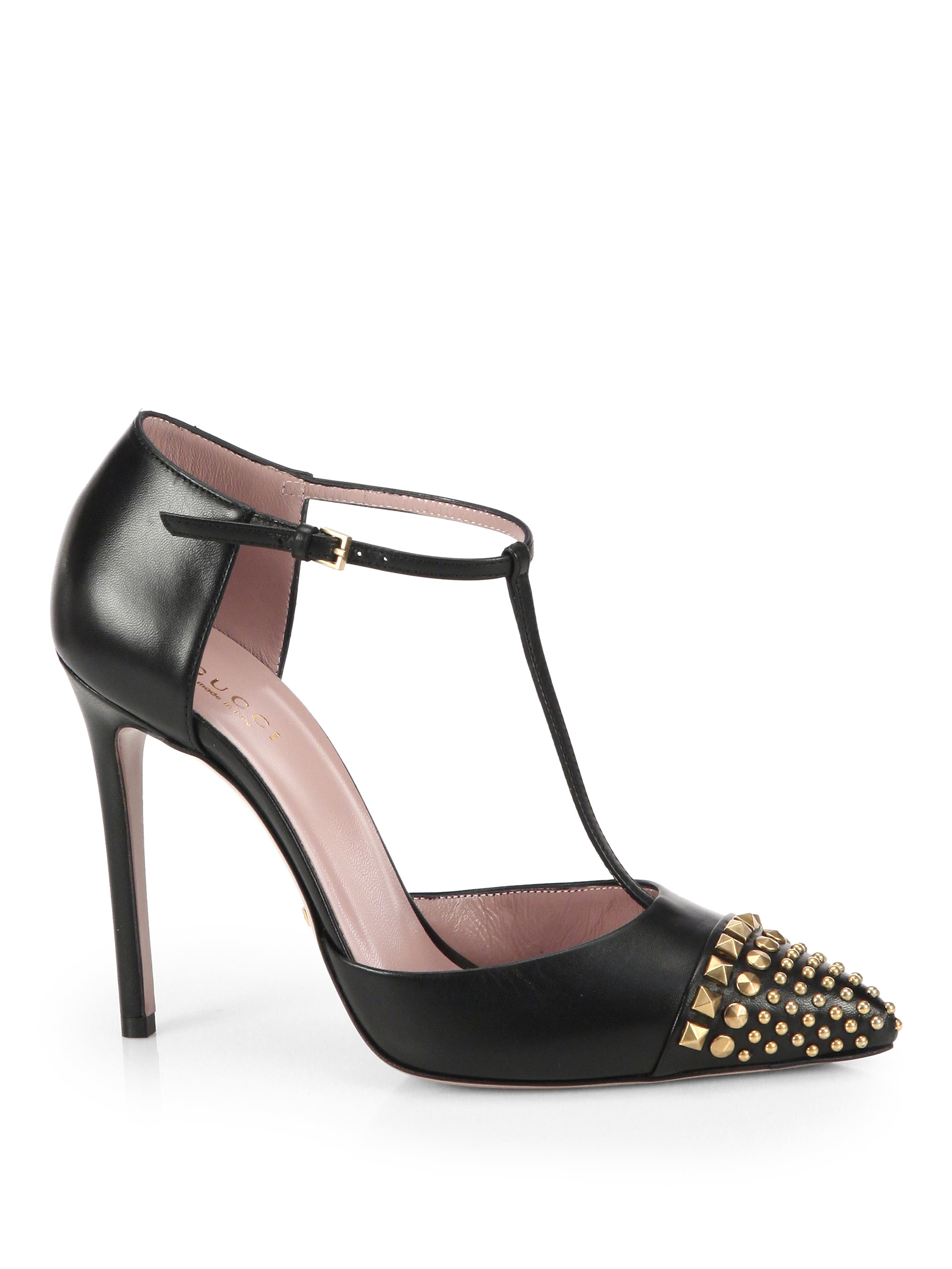 Gucci Studded Leather T Strap Pumps In Black Lyst