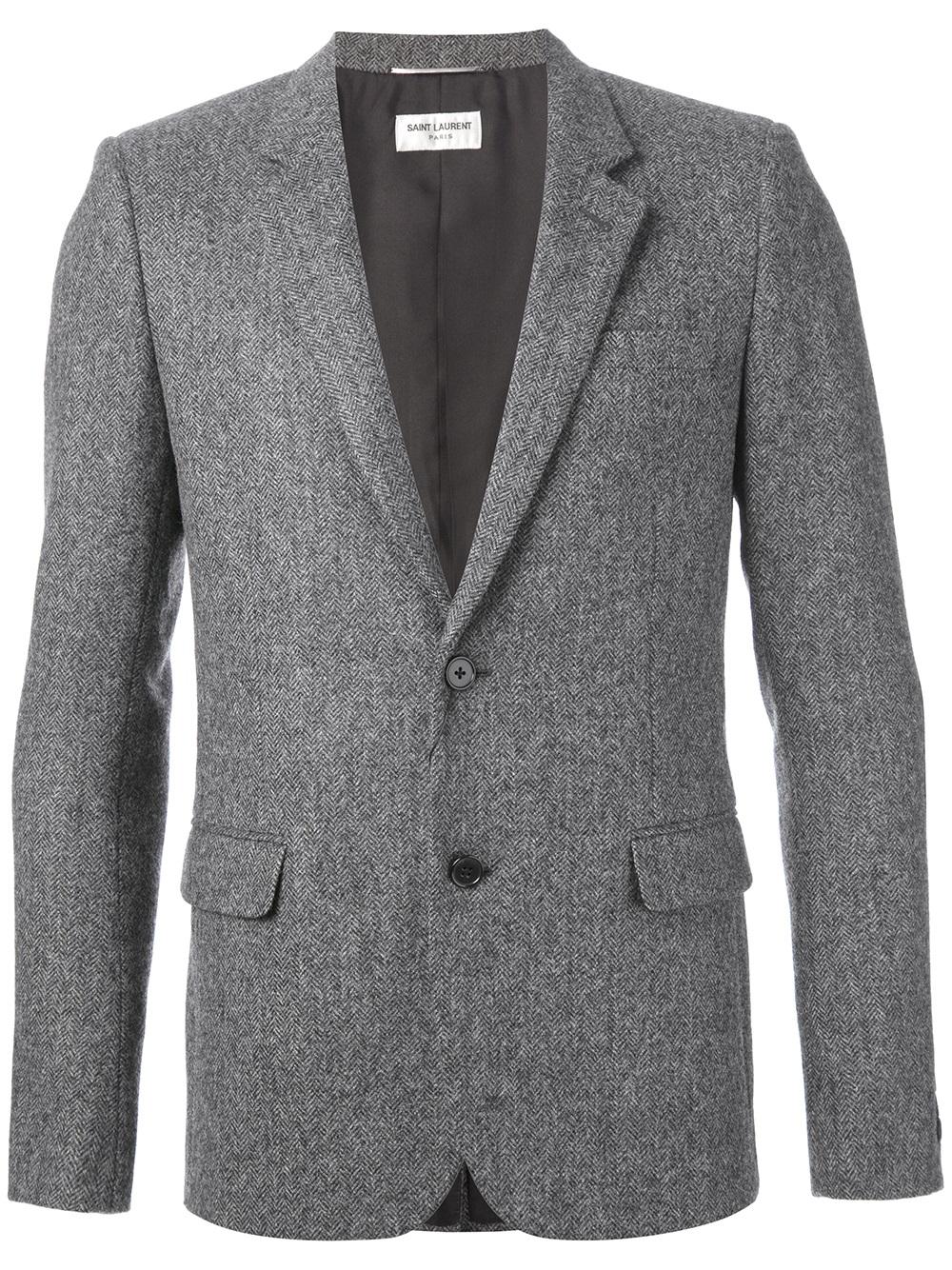 Lyst Saint Laurent Herringbone Tweed Blazer In Gray For Men