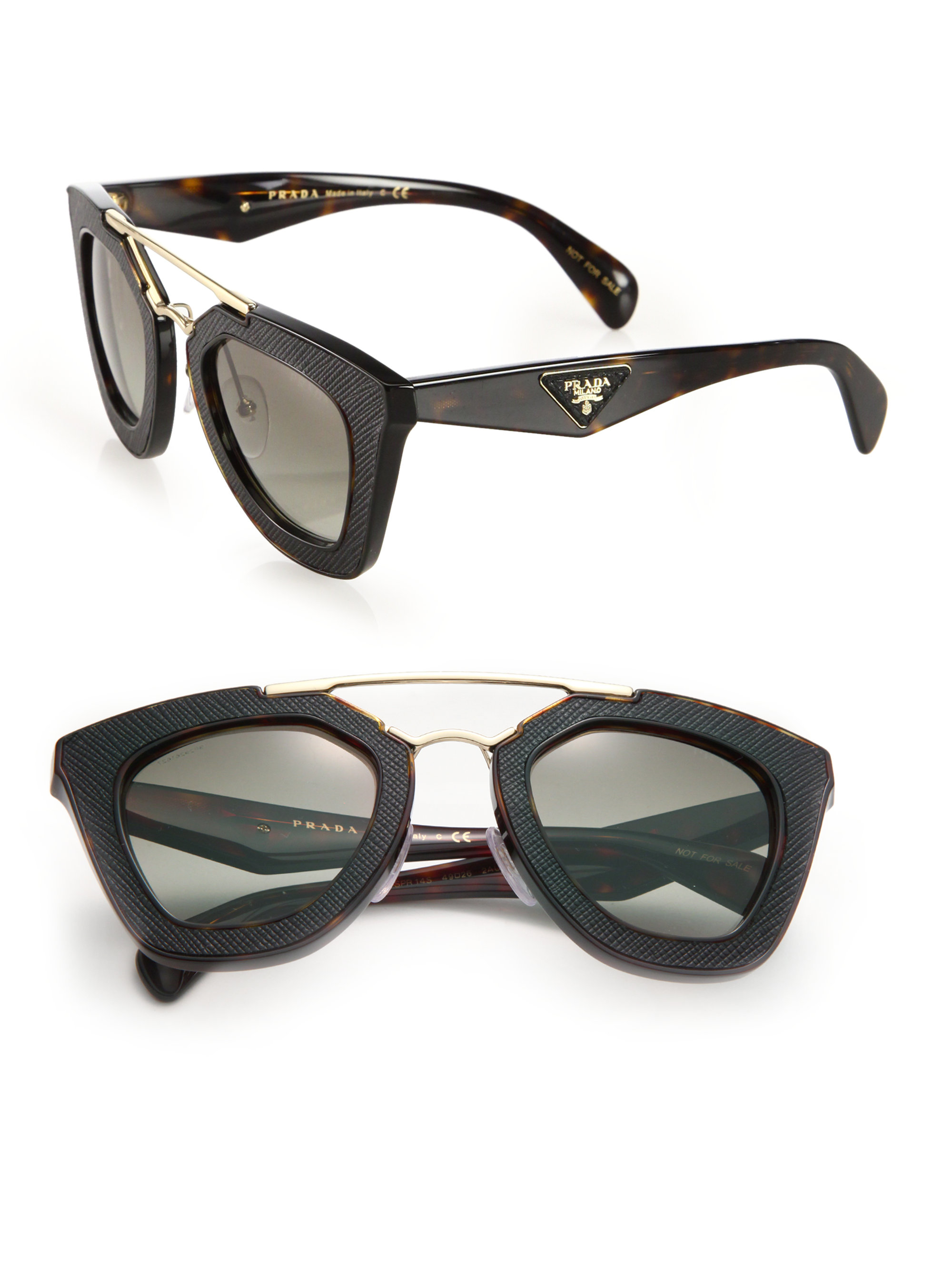 521348f51476 Lyst - Prada Ornate 14ss 49mm Saffiano Leather Sunglasses in Black