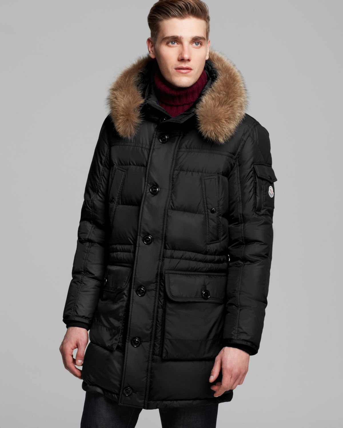 Moncler Affton Down Parka With Fur Hood in Black for Men | Lyst