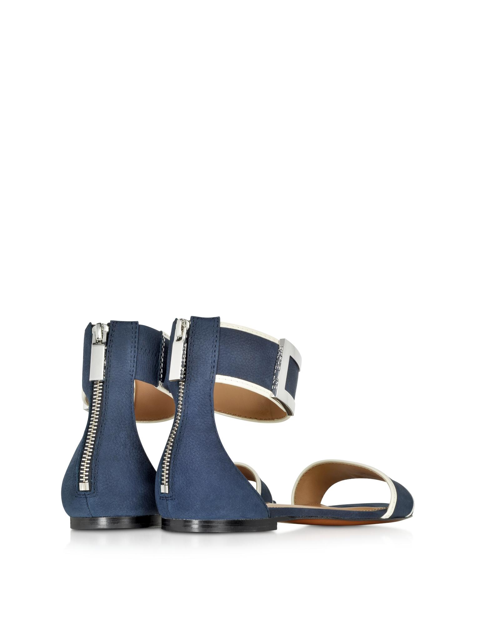 61e1152a16bb Lyst - Rachel Zoe Gracie Navy Blue and White Flat Sandal in Blue