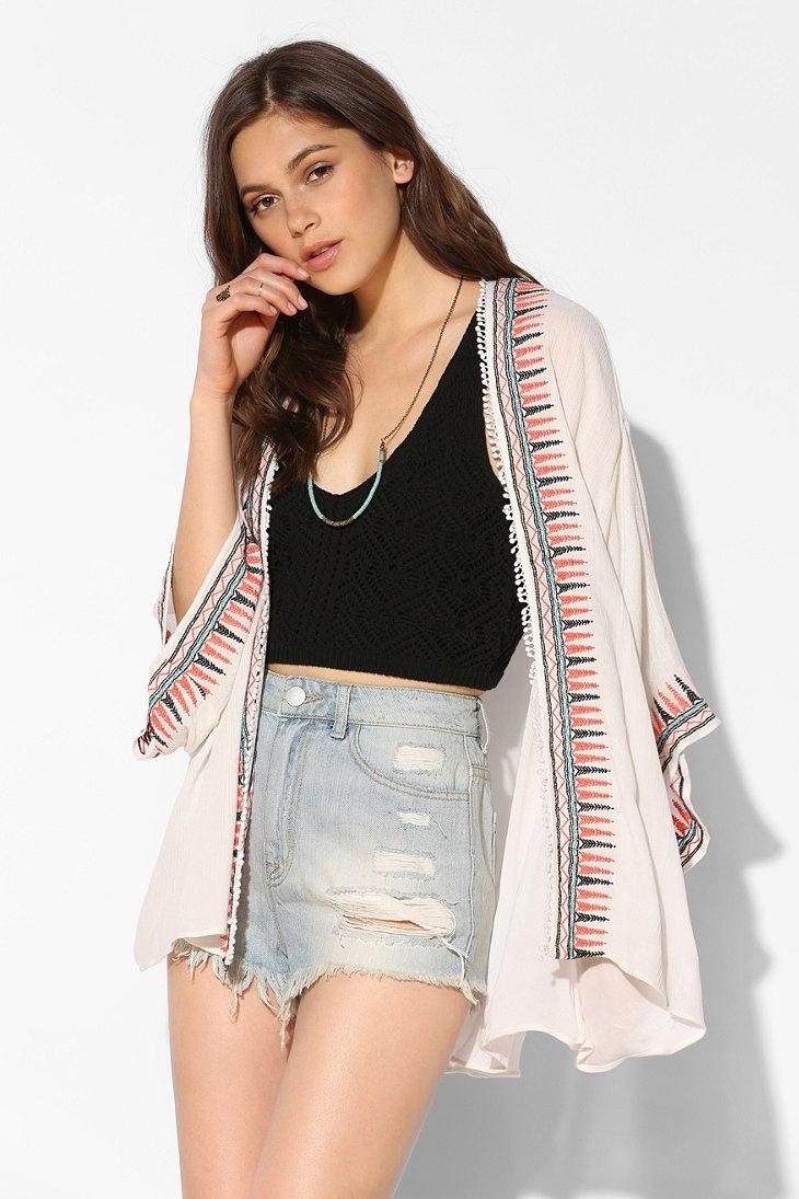 Ecote Embroidered Kimono Jacket in White | Lyst