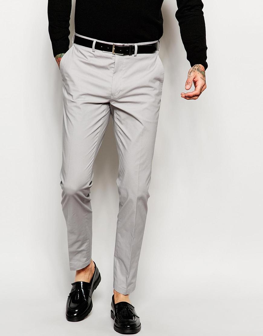 Asos Skinny Suit Trousers In Grey Poplin in Gray for Men | Lyst