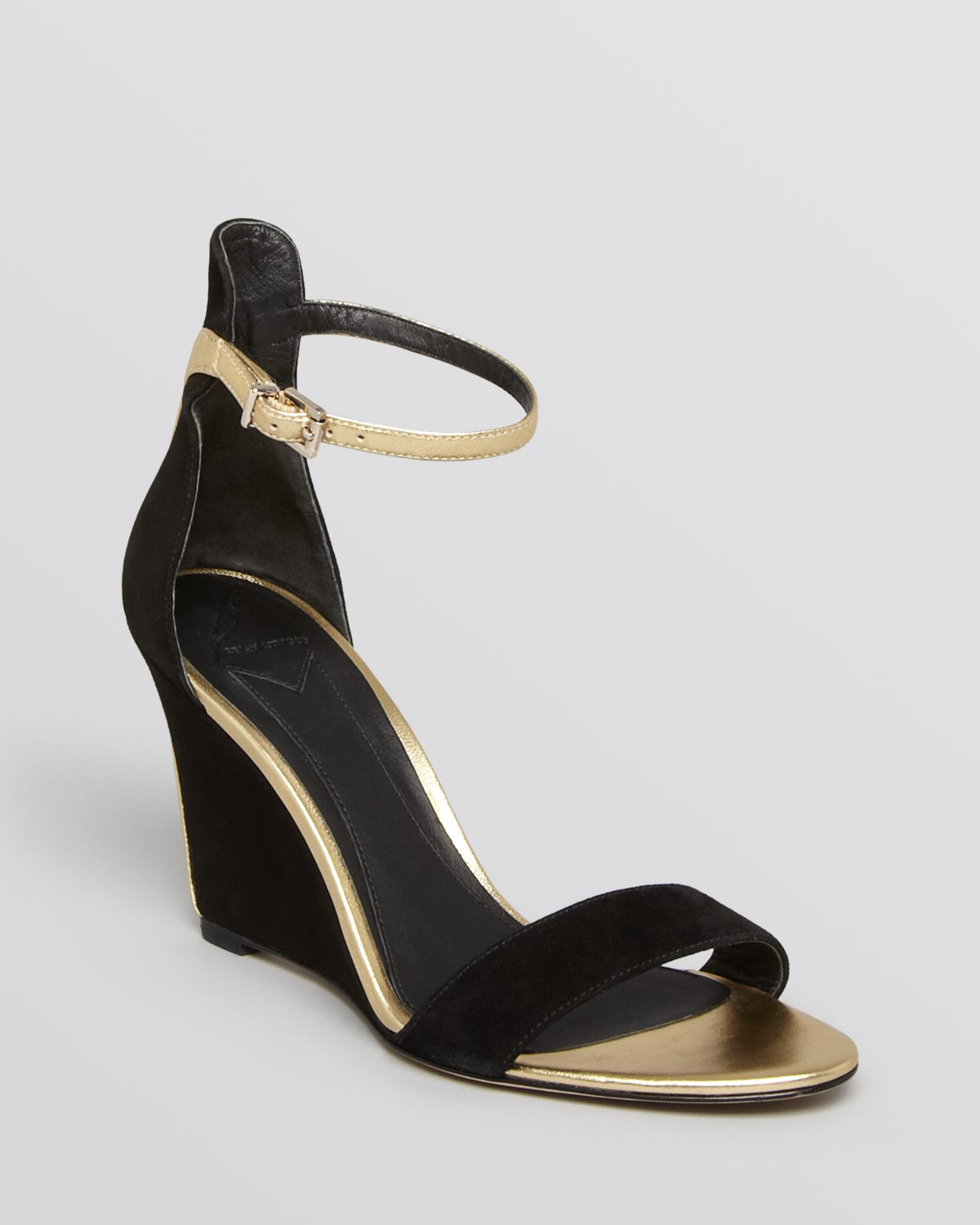 b brian atwood wedge sandals roberta in gold black gold