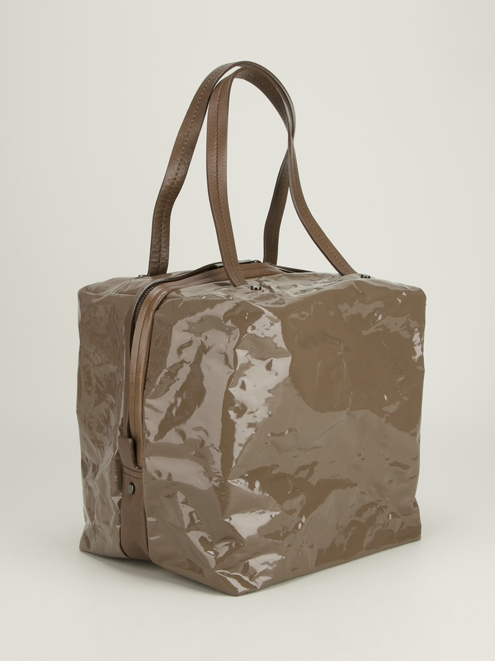 Lyst - Pleats Please Issey Miyake Structured Pvc Bag in Brown 975ffa6a83
