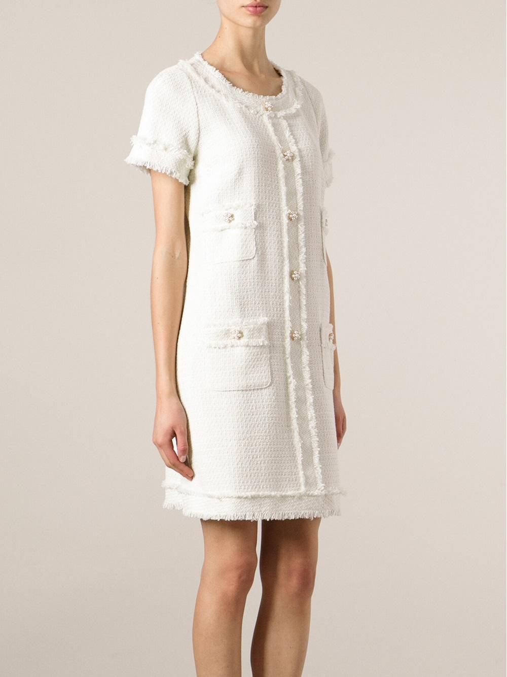 Lyst Edward Achour Paris Boucl 233 Shift Dress In White