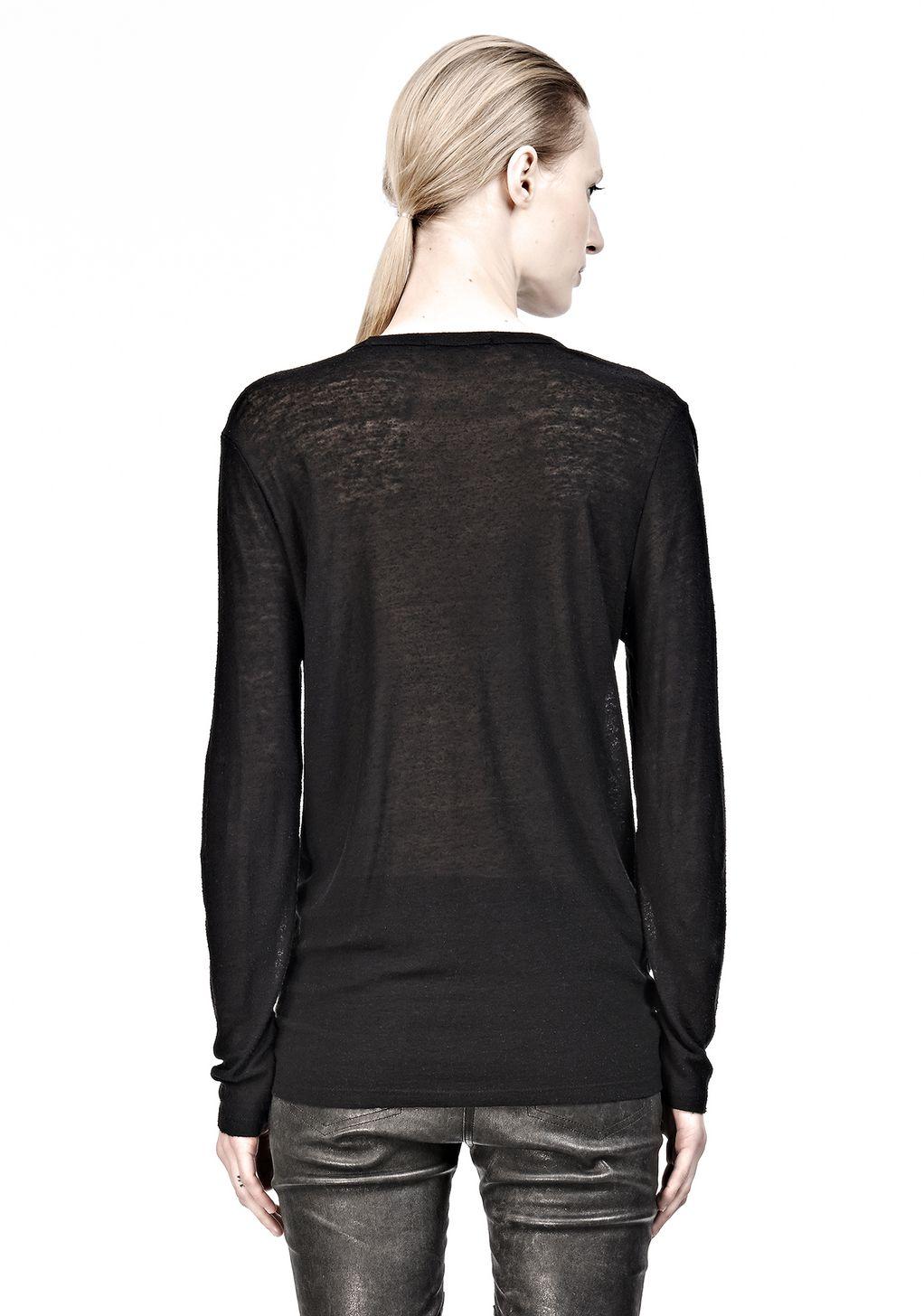 Alexander wang slub classic long sleevetee in black lyst for Adam lippes women s long sleeve vee t shirt