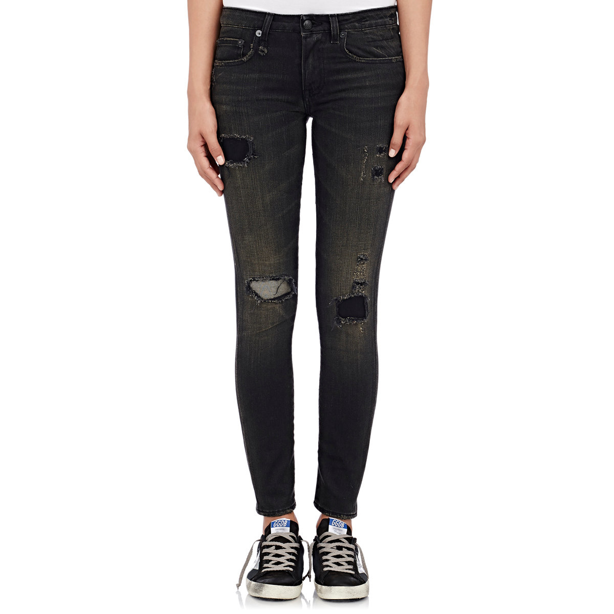 Black skinny jeans with all over scratches and tears. LOVER BRAND FASHION High Waisted-Rise Ladies Colored Denim Stretch Skinny Destroyed Ripped Distressed Jeans for Women by LOVER BRAND FASHION.