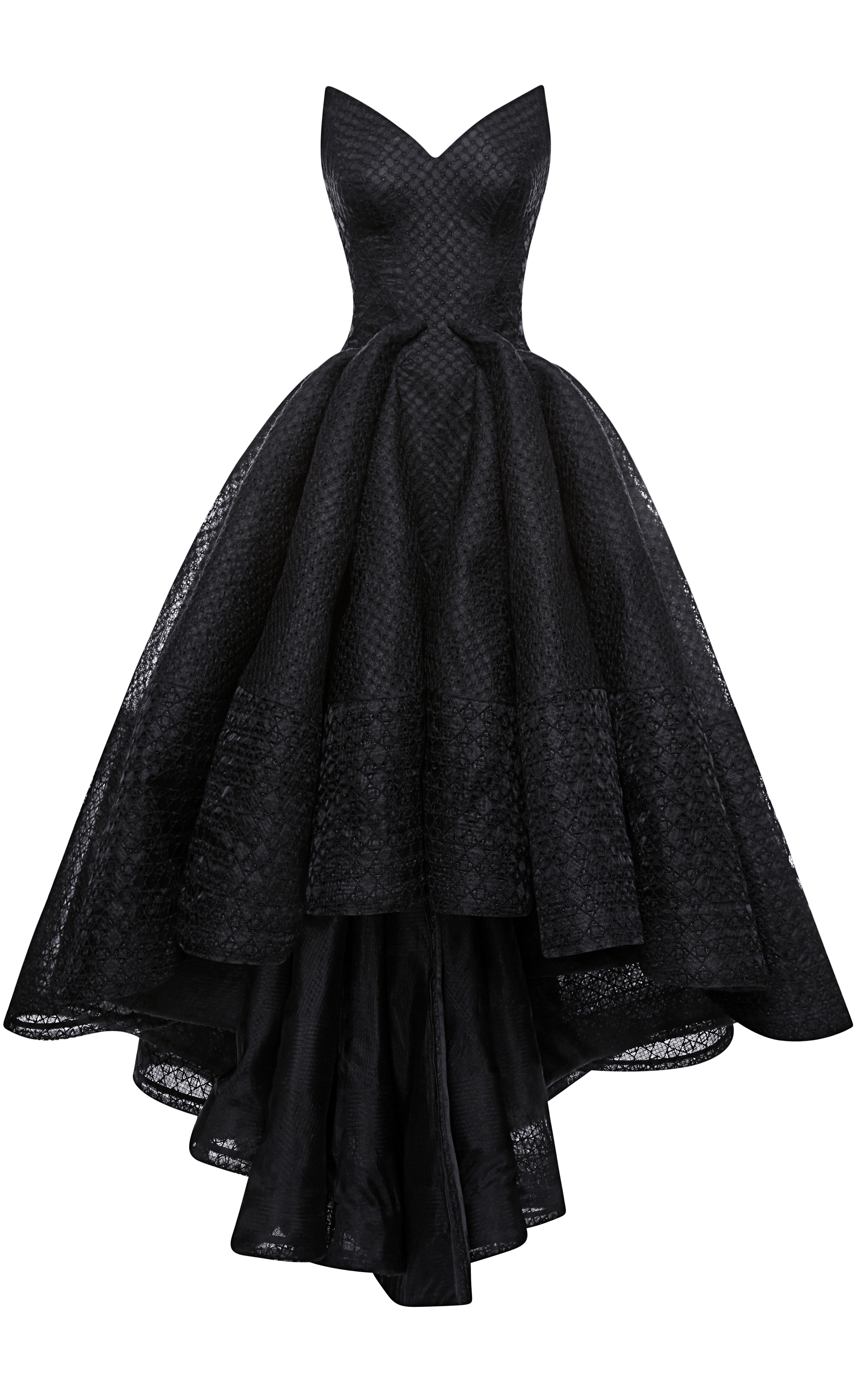 Zac Posen Embroidered Organza Gown In Black Lyst