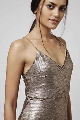 96af9d359bb Lyst - TOPSHOP Petite Brushed Sequin Dress in Metallic