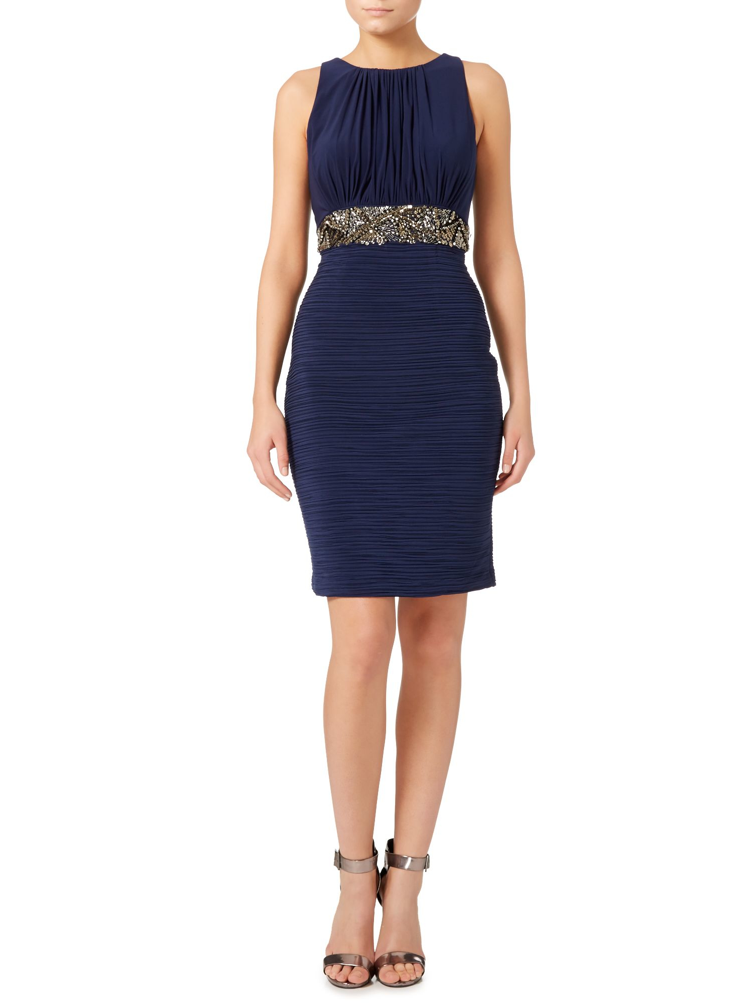 js collections beaded waist dress with pleated skirt in