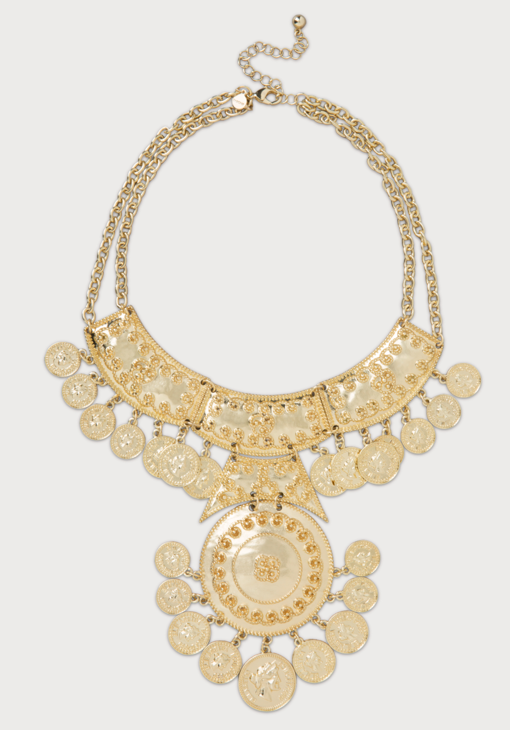 bebe coin medallion bib necklace in metallic lyst