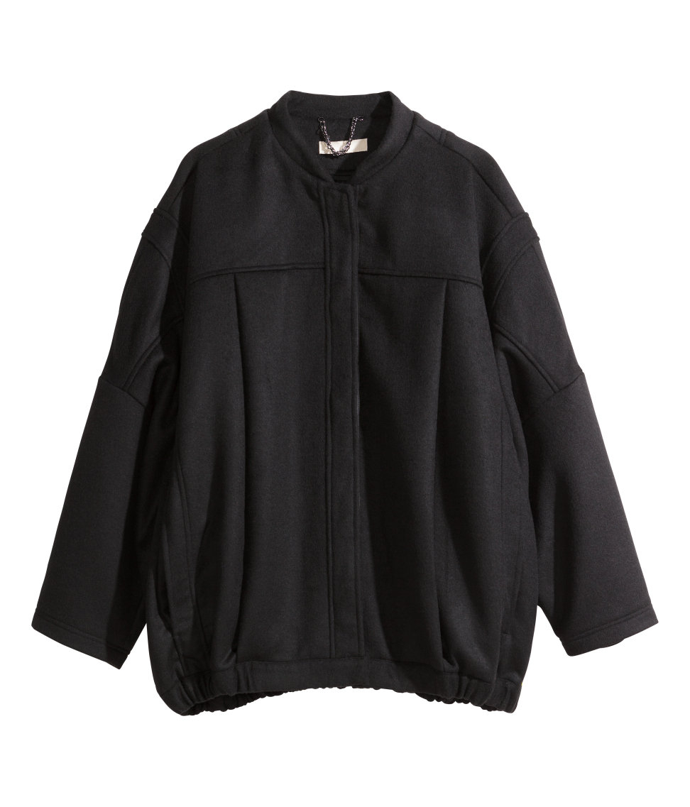 Lyst - H&M Bomber Jacket In A Wool Blend in Black