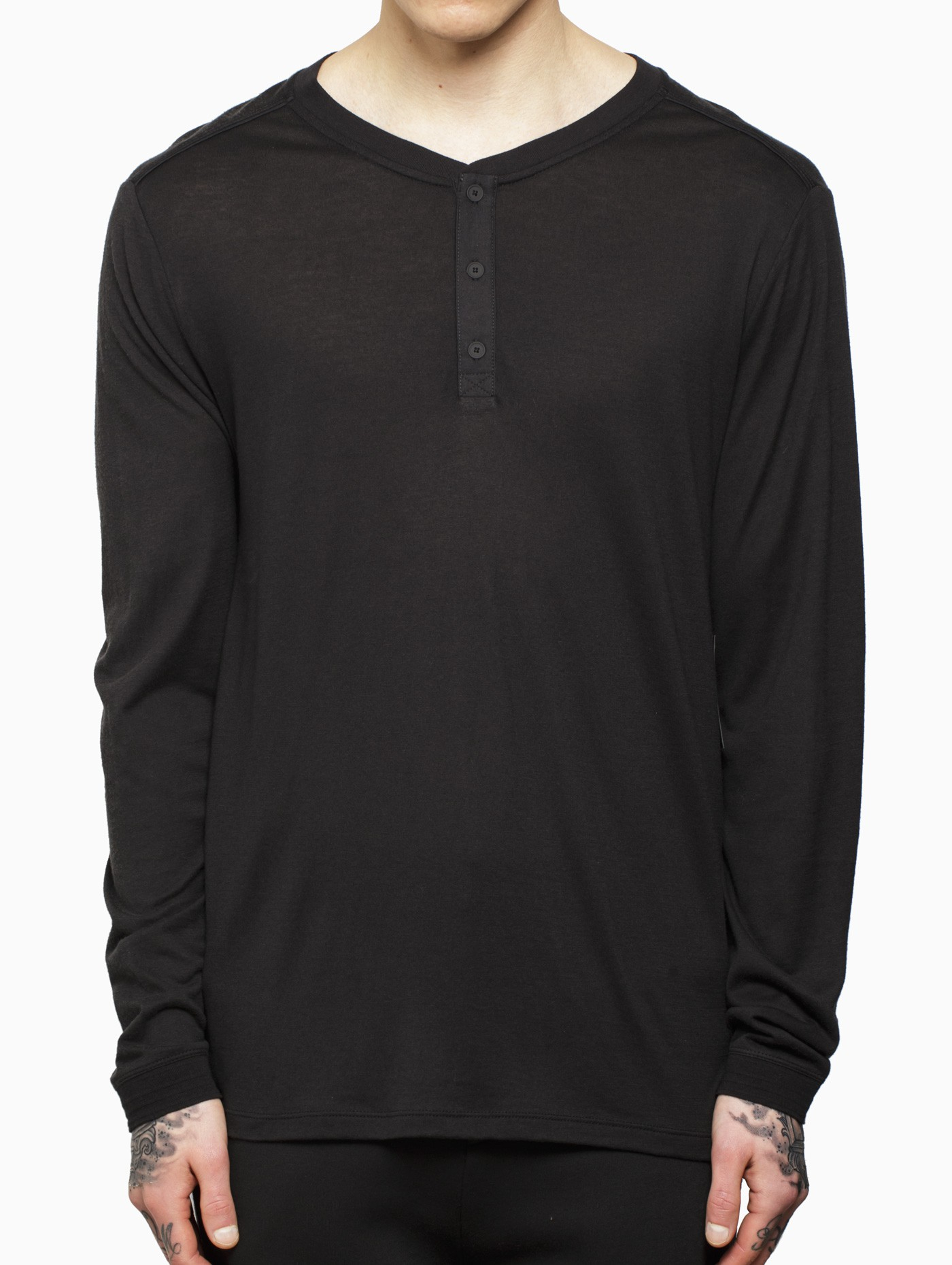 Vrients Long Sleeve Henley Top In Black For Men Lyst