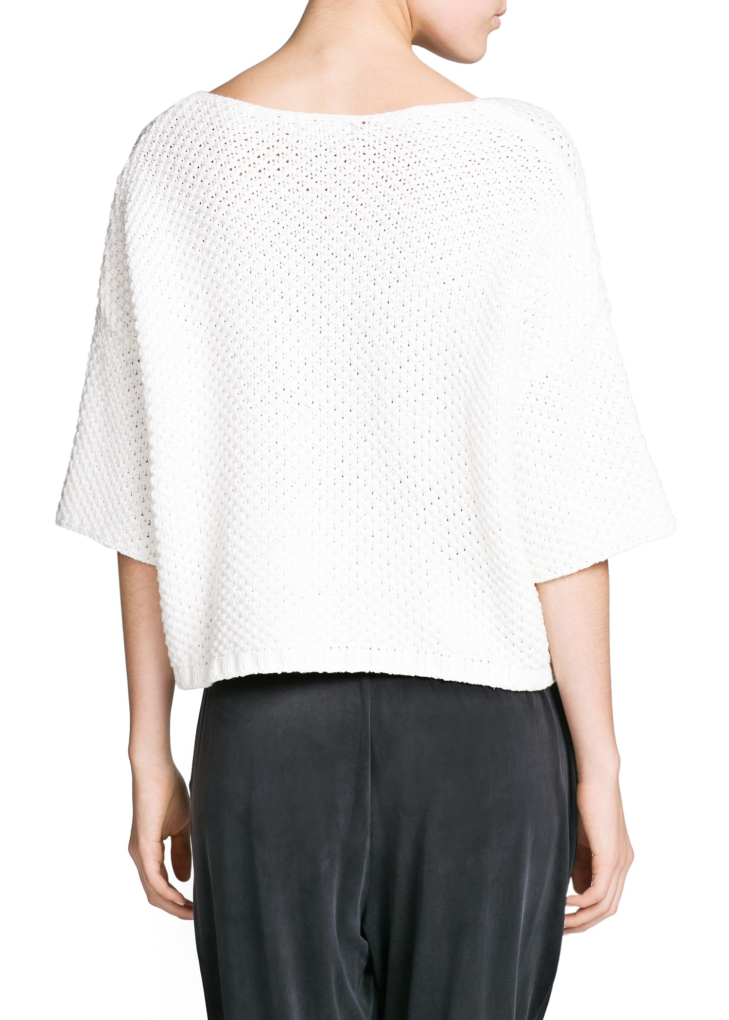 Mango Cropped Chunky Knit Sweater in White | Lyst