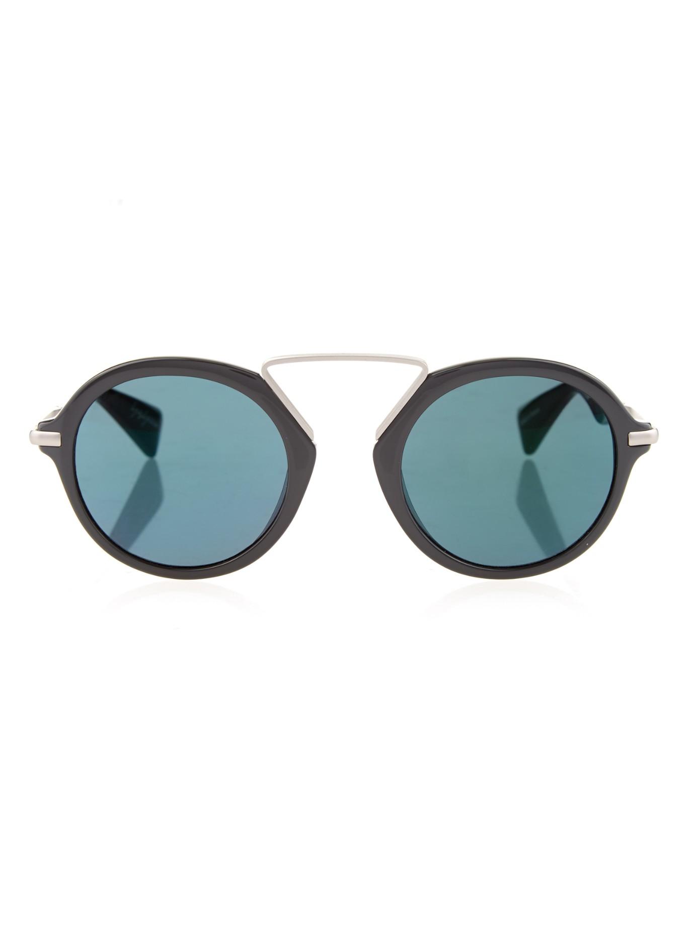 Round Frame Sunglasses  yohji yamamoto round frame sunglasses in black lyst