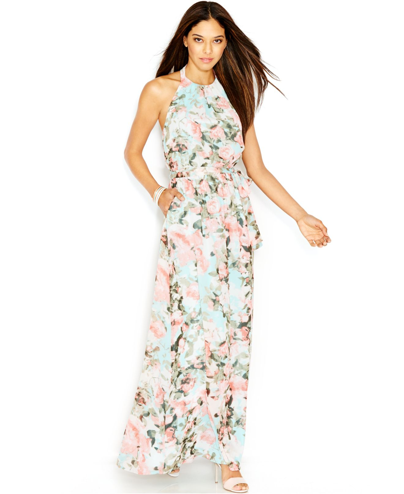 Non Traditional Floral Wedding Dresses: Jessica Simpson Sleeveless Halter-Neck Floral-Print Maxi