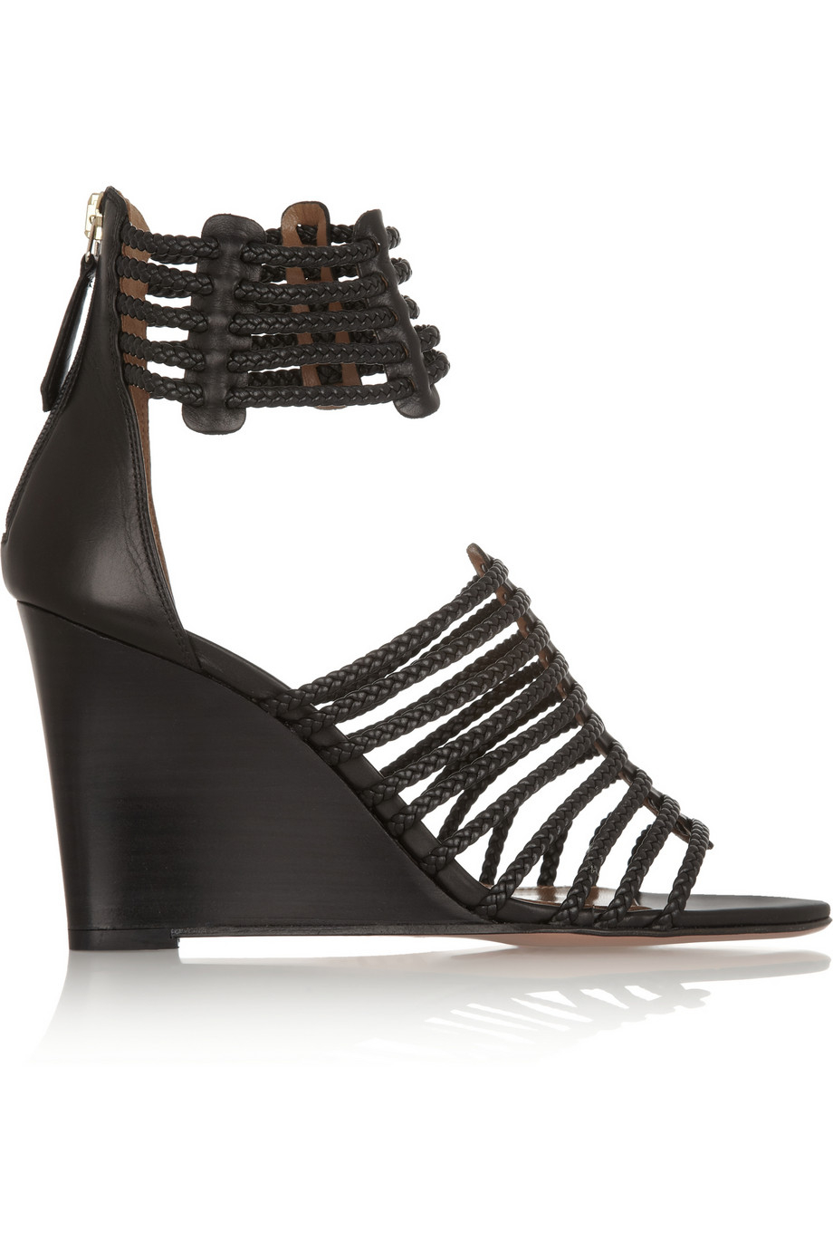 Lyst Aquazzura Venus Braided Leather Wedge Sandals In Black