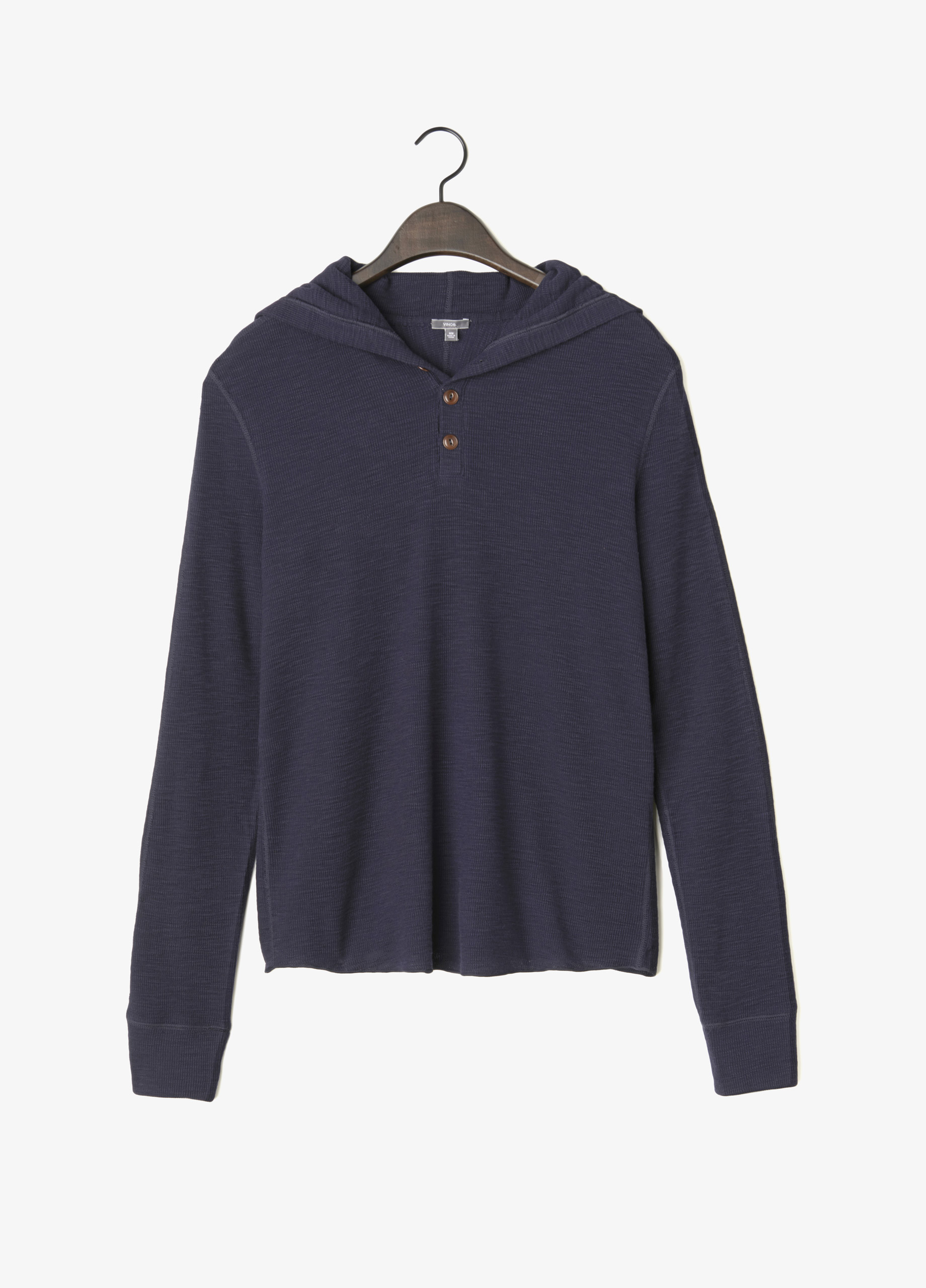 Vince Slub Cotton Thermal Hooded Henley In Blue Lyst