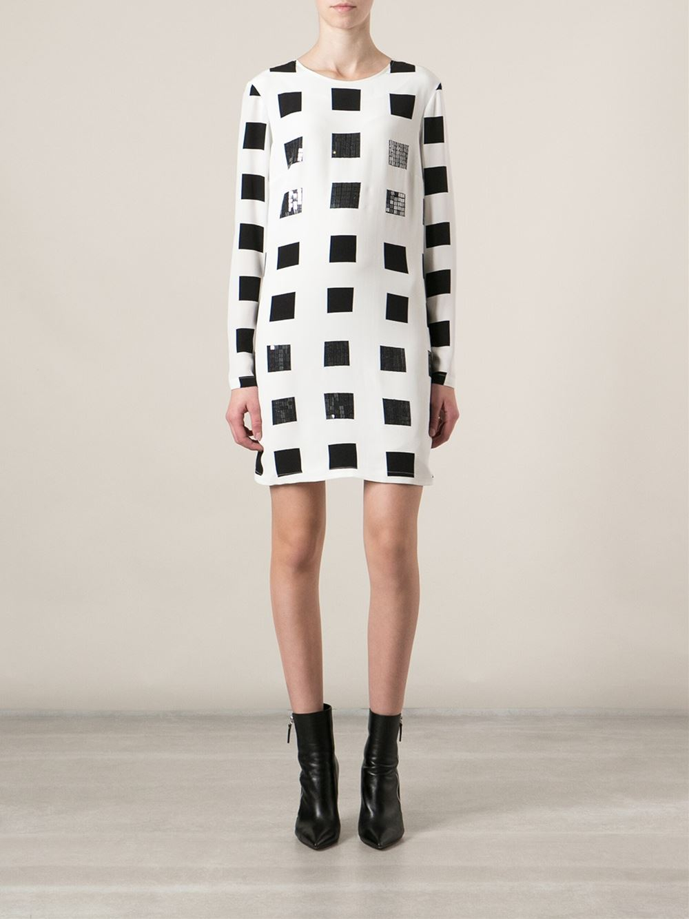 Fancy dress designers kenzo white squares shift dress product 1 24736976 0 852585527 normal