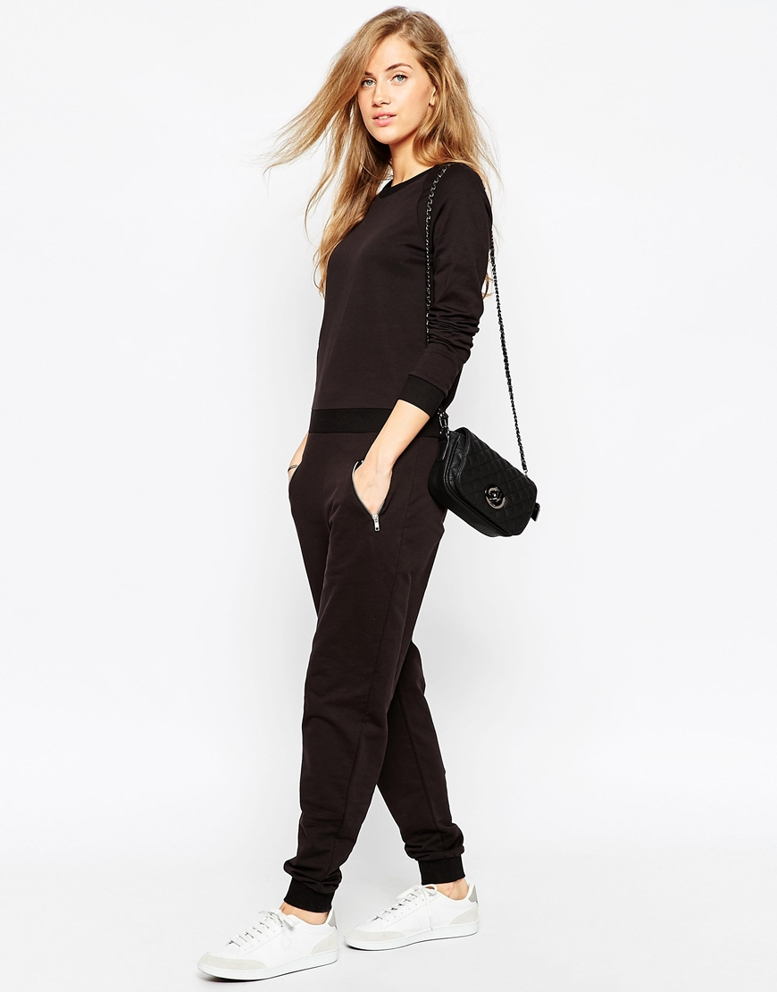 d0261a93b95 Lyst - ASOS Easy Fit Jersey Jumpsuit With Long Sleeves And Zip ...