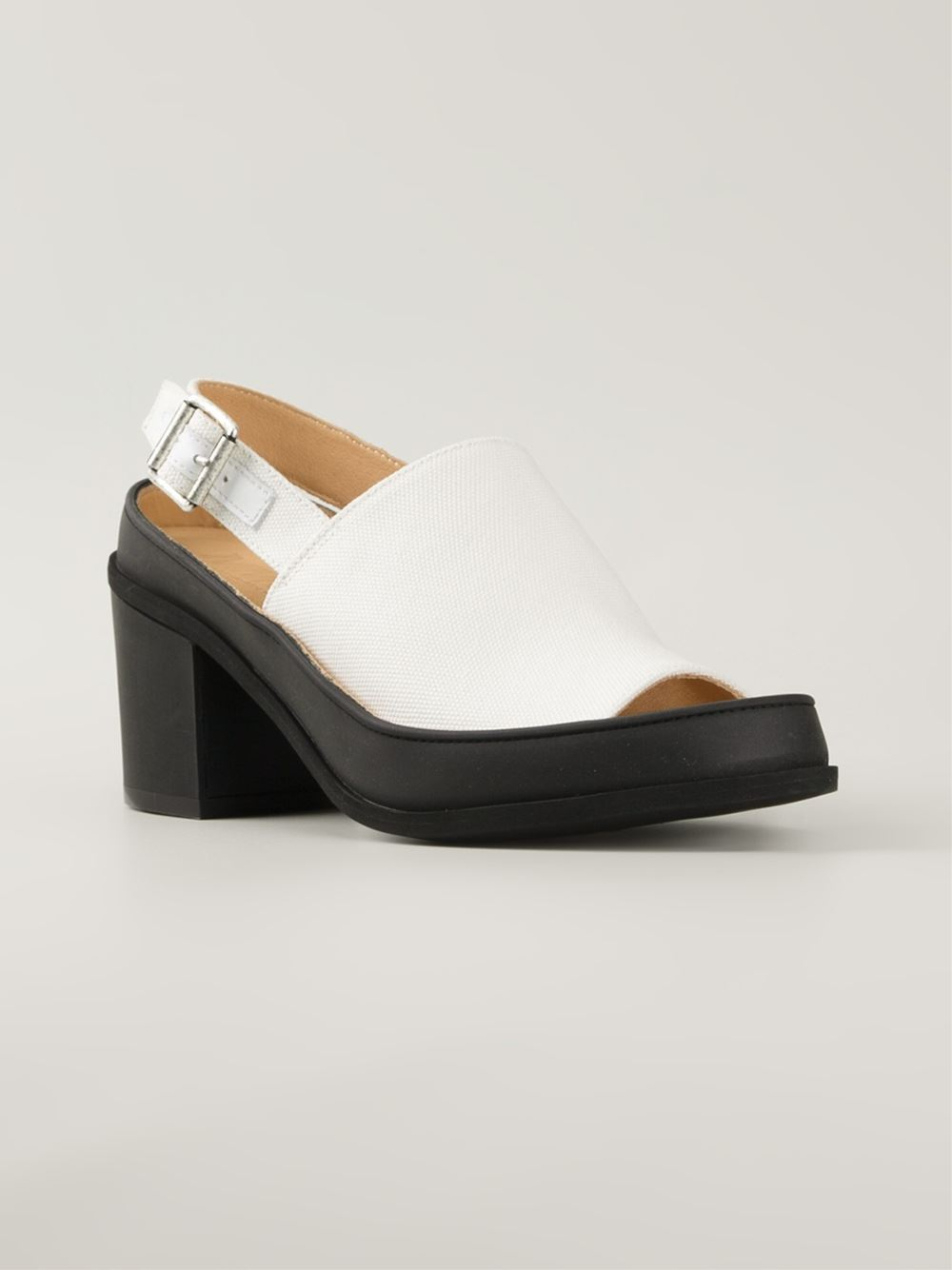 mm6 by maison martin margiela chunky heel sandals in white