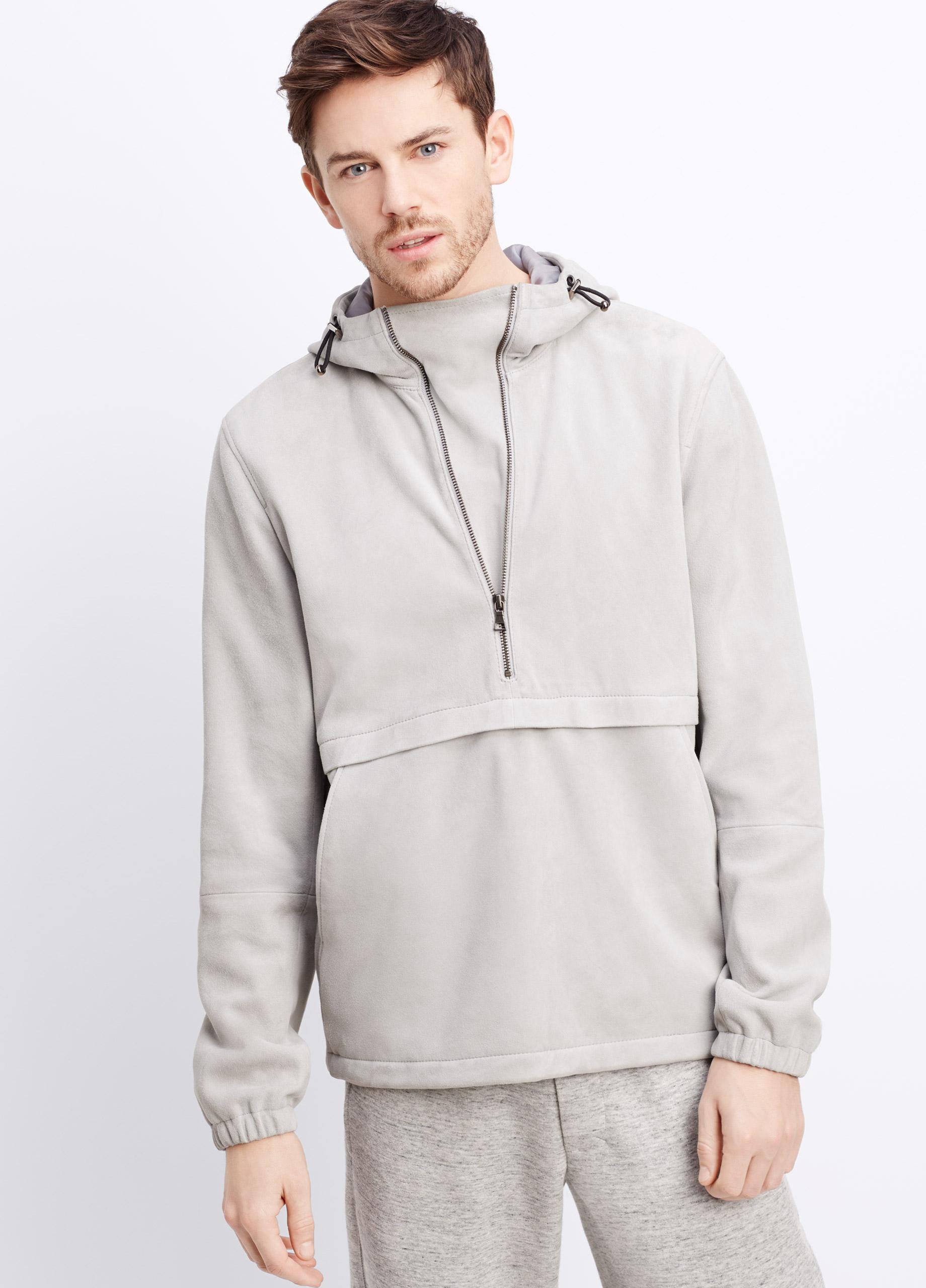 Vince Bonded Suede Pullover Half-Zip Hoodie in Gray for Men | Lyst