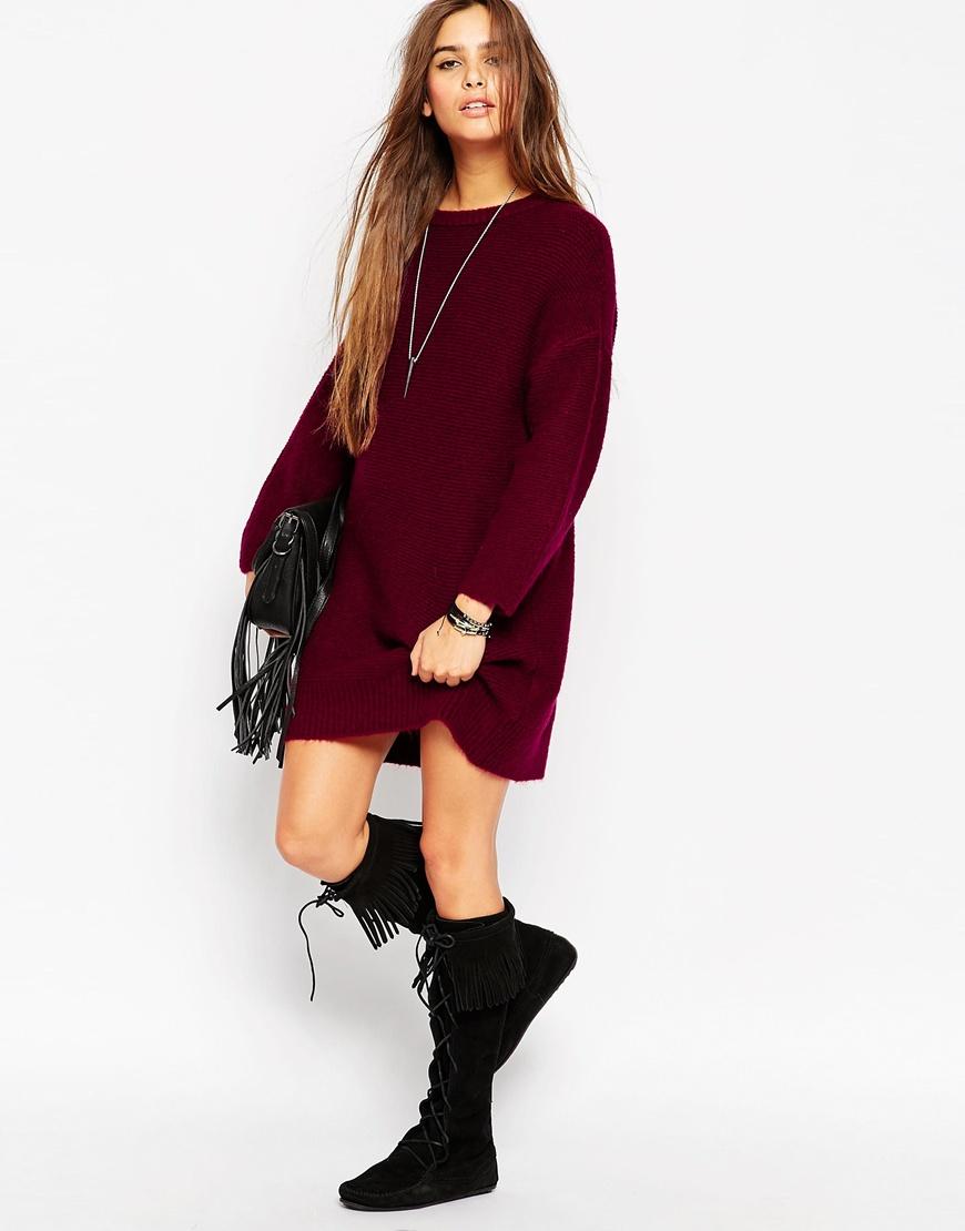 c4a28294bca0f3 ASOS Oversized Jumper Dress In Chunky Knit in Purple - Lyst