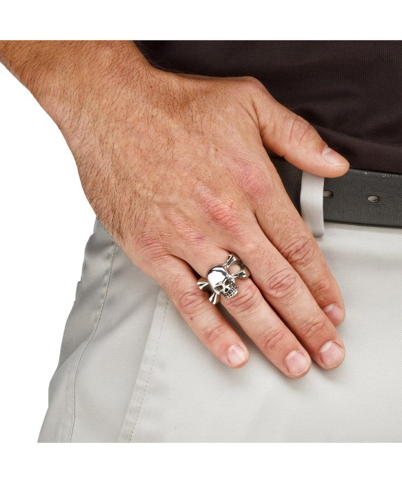 Palmbeach Jewelry Mens Skull And Crossbones Ring In Stainless