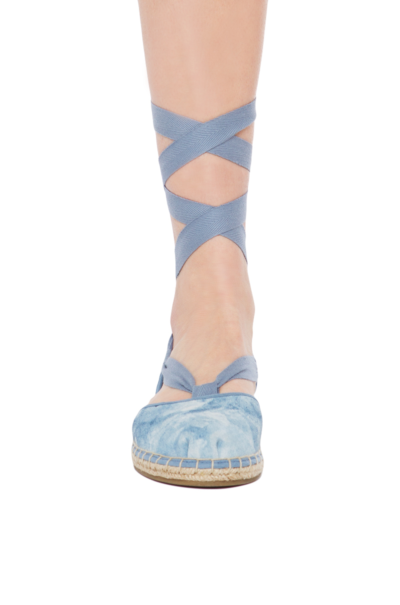44cd7d5c279 Lyst - TOMS Bella Espadrille Skyway Print Blue Washed Suede Ankle ...
