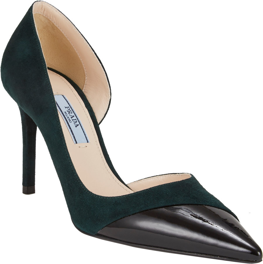 1a99c114c41c Prada Asymmetric Captoe Half Dorsay Pumps in Green - Lyst