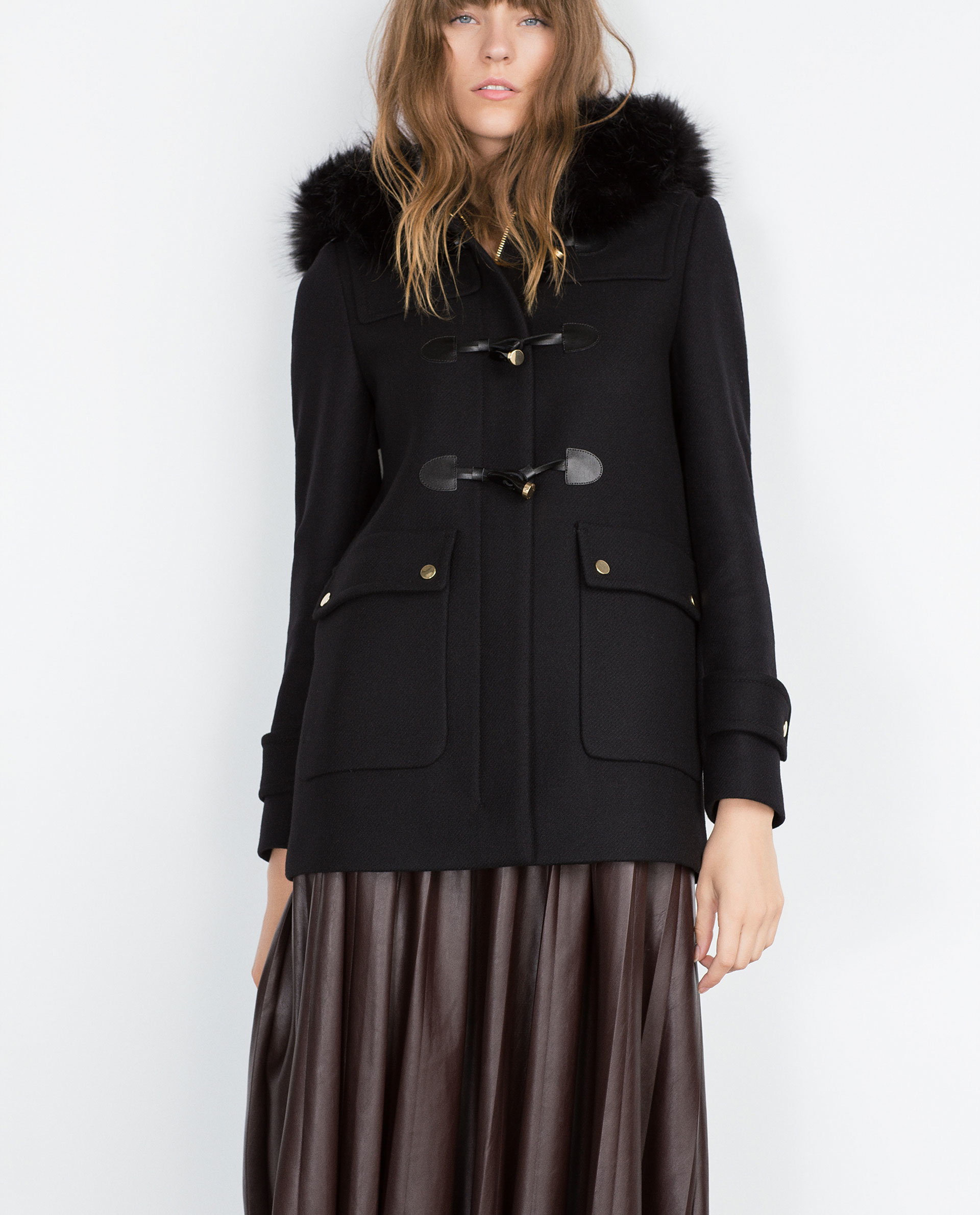 Zara Duffle Coat With Faux Fur Lined Hood in Black | Lyst