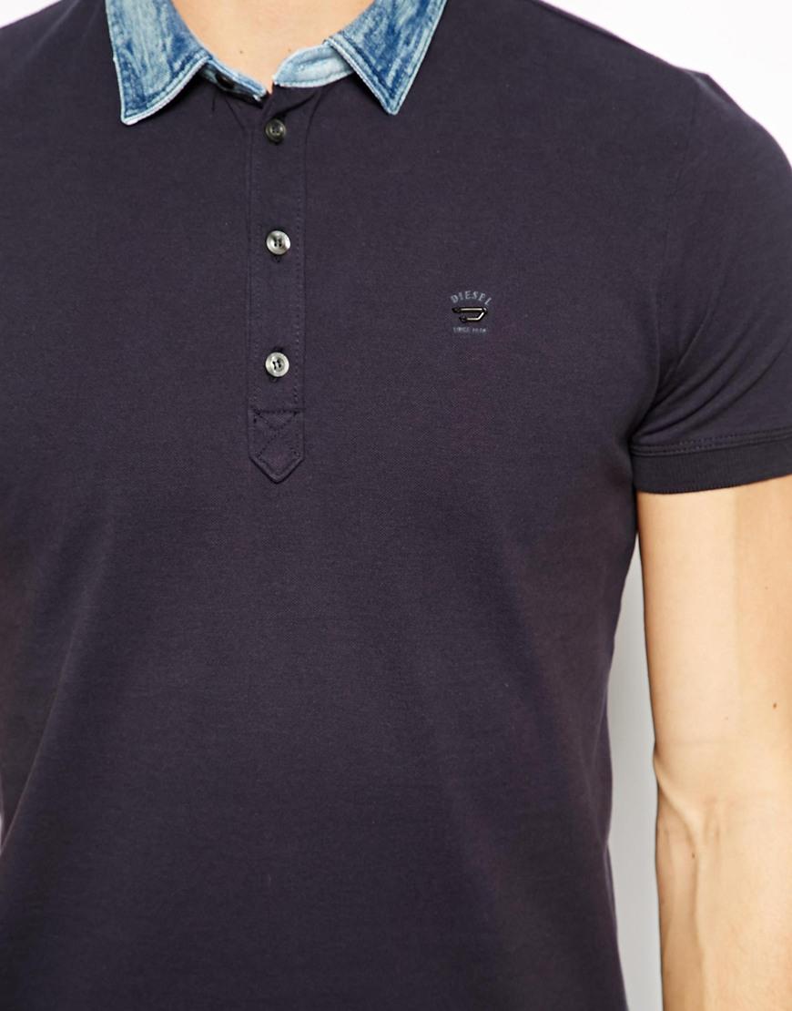 lyst diesel polo shirt tbrillo denim collar in blue for men. Black Bedroom Furniture Sets. Home Design Ideas