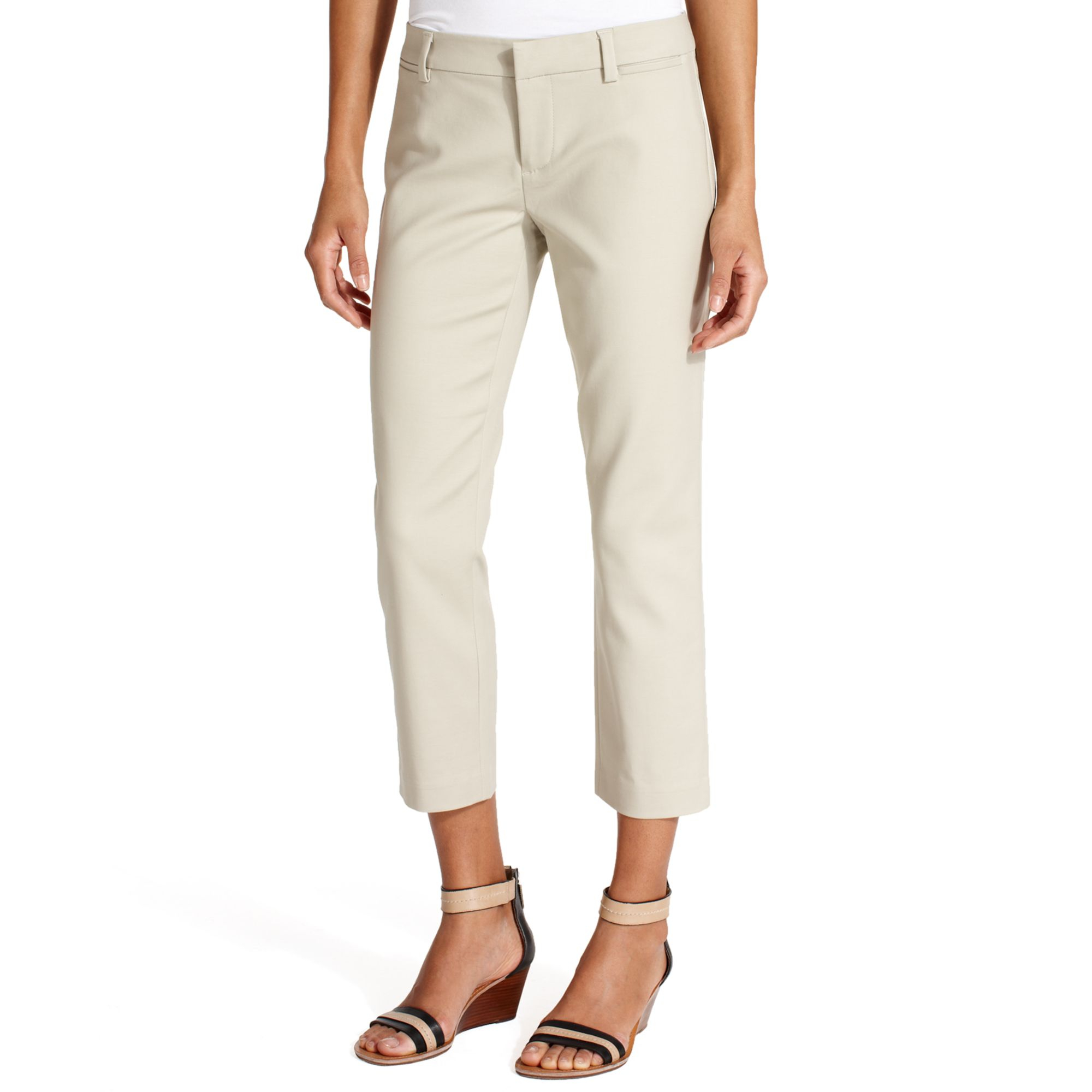 cd60e373f Tommy Hilfiger Straightleg Cropped Pants in Natural - Lyst