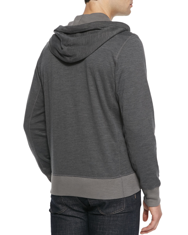 Rag & bone Heathered Knit Zip Hoodie in Gray for Men Lyst