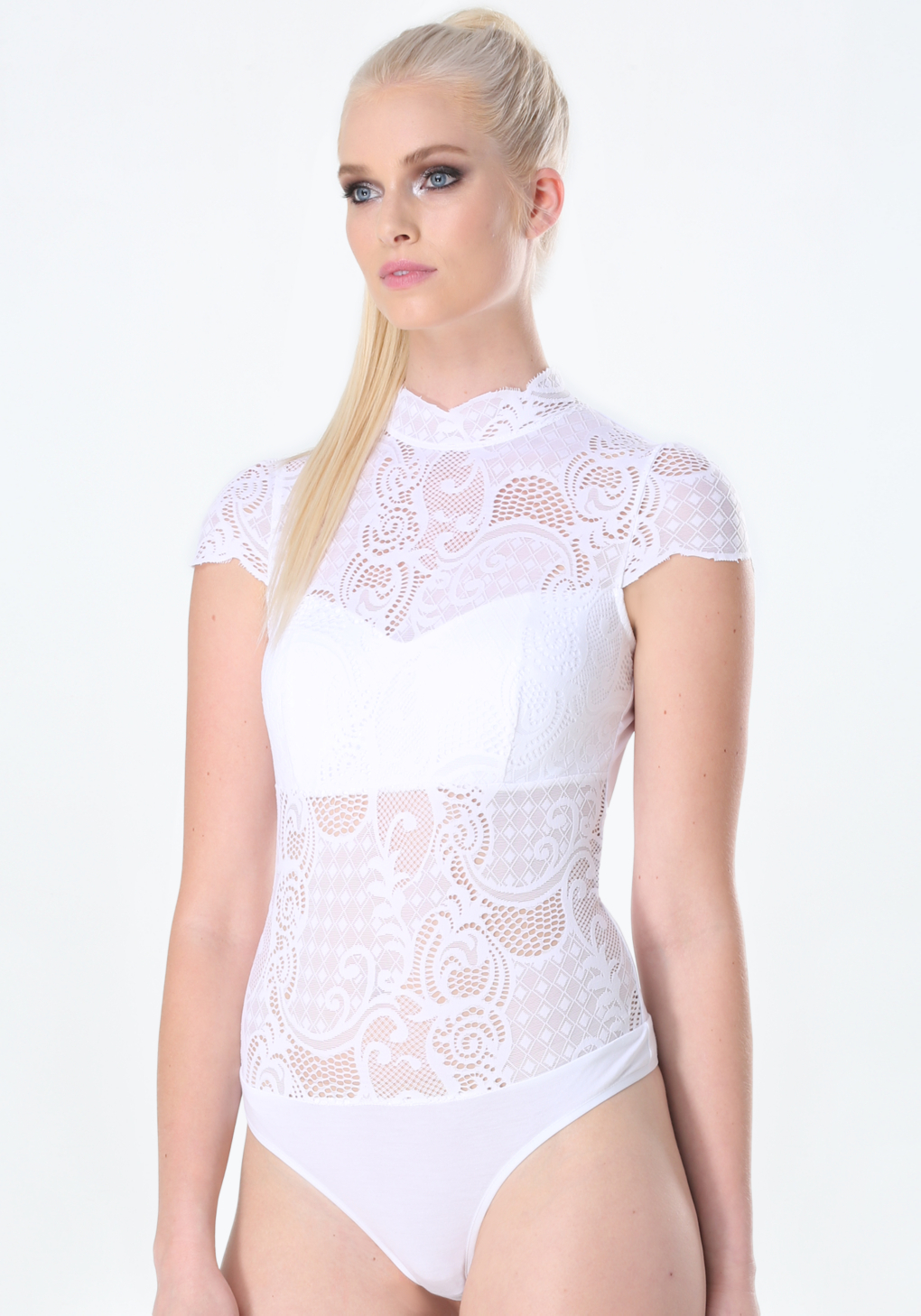 63dbea6b564b6c Lyst - Bebe Bella Lace Bodysuit in White