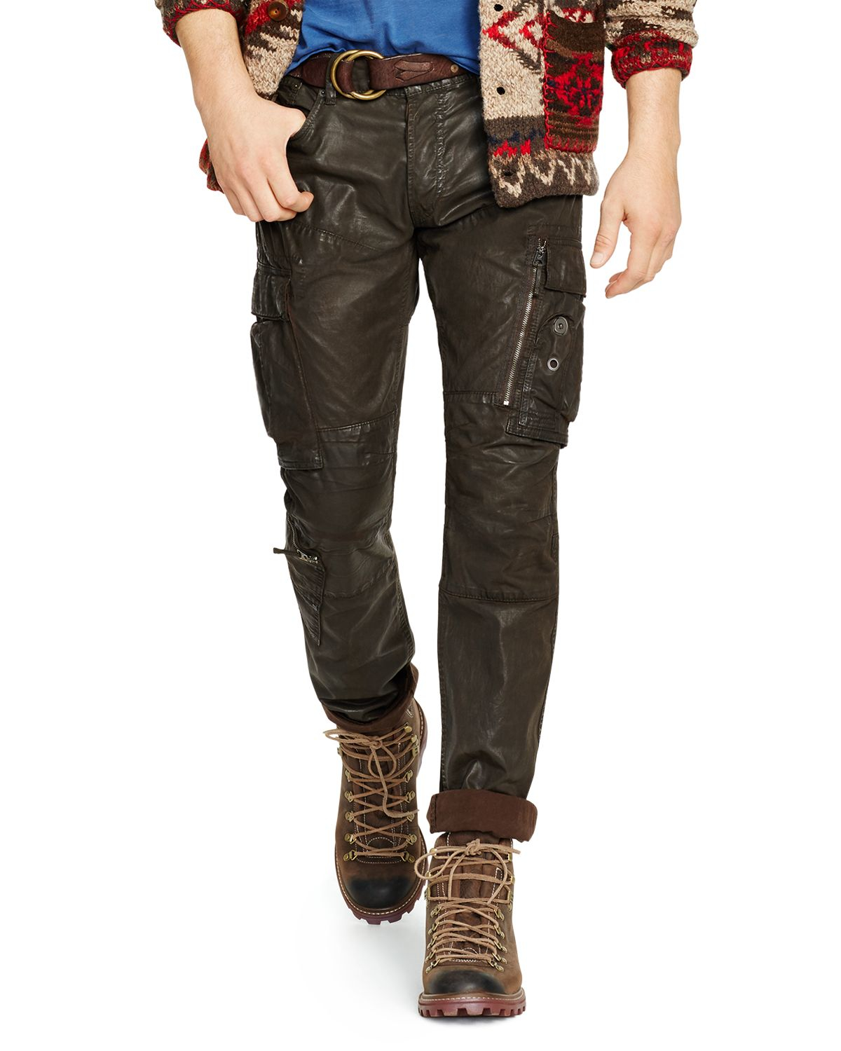lyst ralph lauren polo coated cargo jeans in brown for men. Black Bedroom Furniture Sets. Home Design Ideas