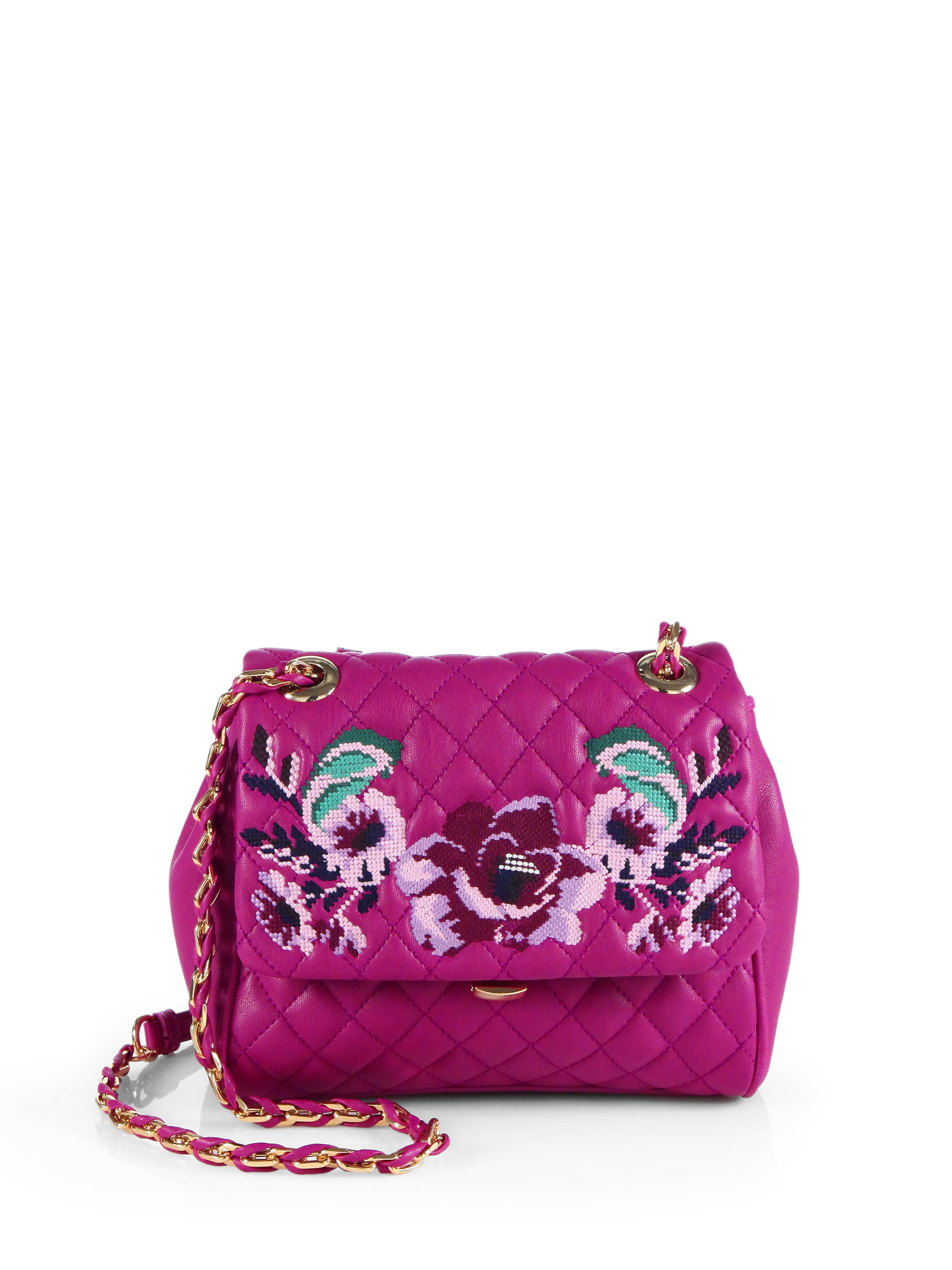 Lyst Love Moschino Flower Embroidered Quilted Shoulder