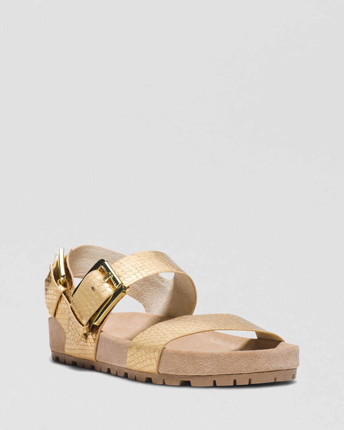 Michael Michael Kors Flat Sandals Sawyer In Gold Pale