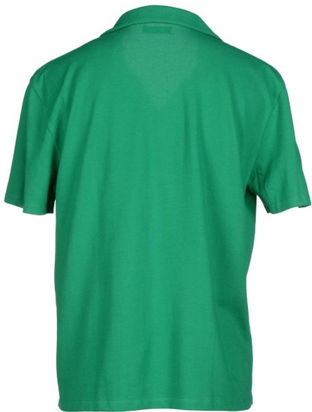 Raf simons polo shirt in green for men emerald green lyst Emerald green mens dress shirt
