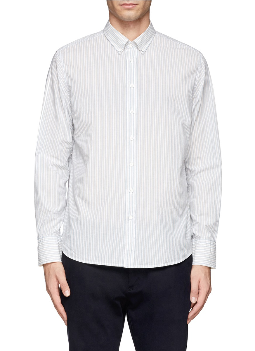 Rag bone button down collar stripe oxford shirt in blue for White button down collar oxford shirt