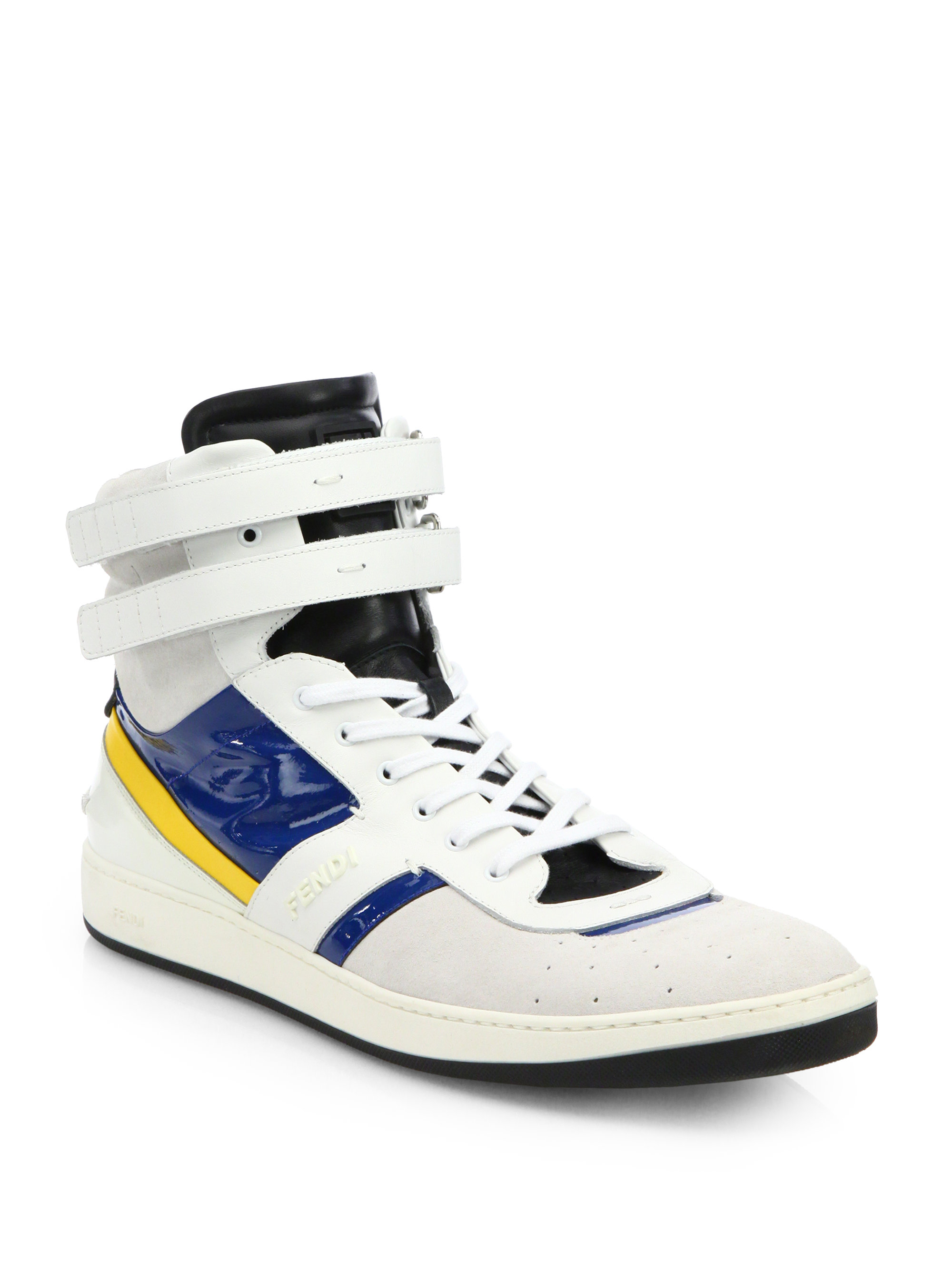 Lyst Fendi Leather High Top Sneakers In Blue For Men