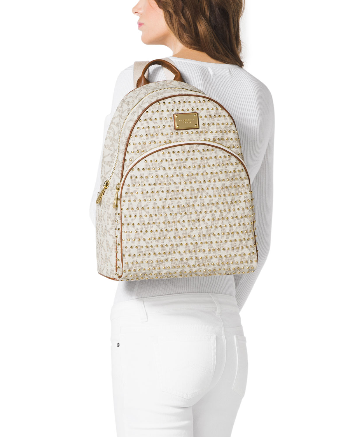 Lyst - MICHAEL Michael Kors Large Jet Set Studded Backpack in White 9988046c142c3