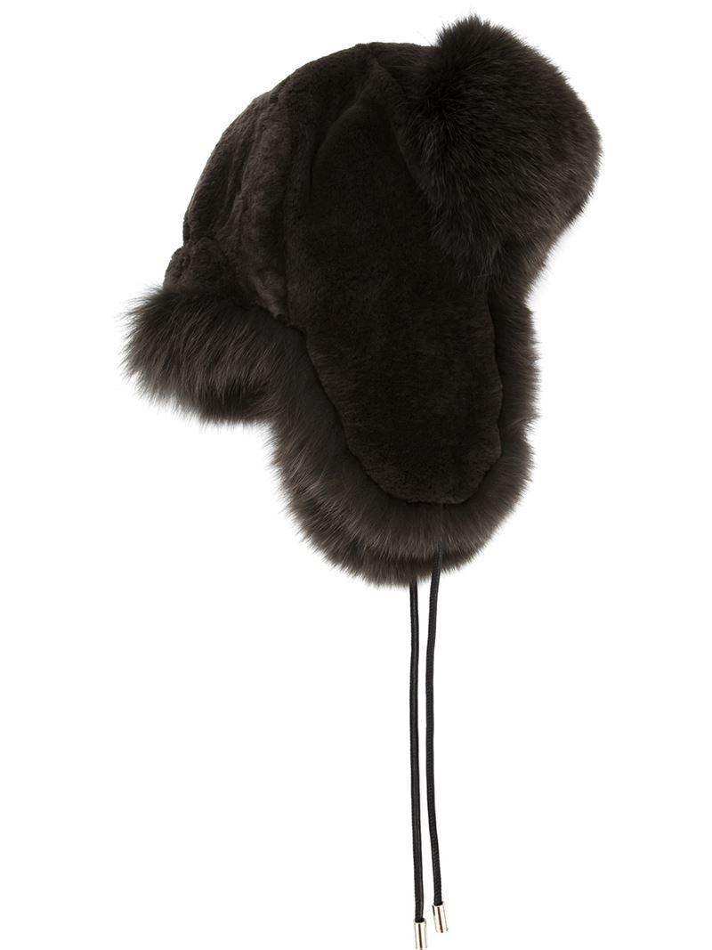 de01e742ef8 Lyst - Yves Salomon Fox And Rabbit Fur Trapper Hat in Green